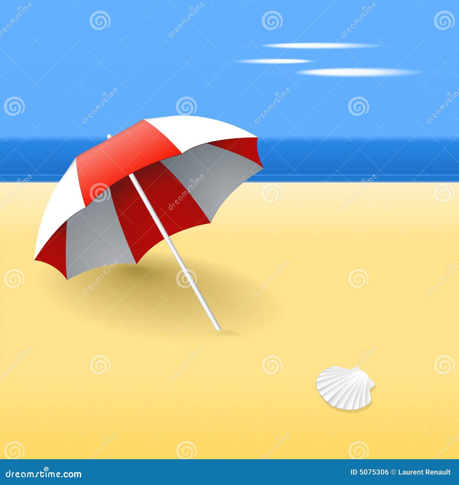 Guarda-chuva de praia vermelho