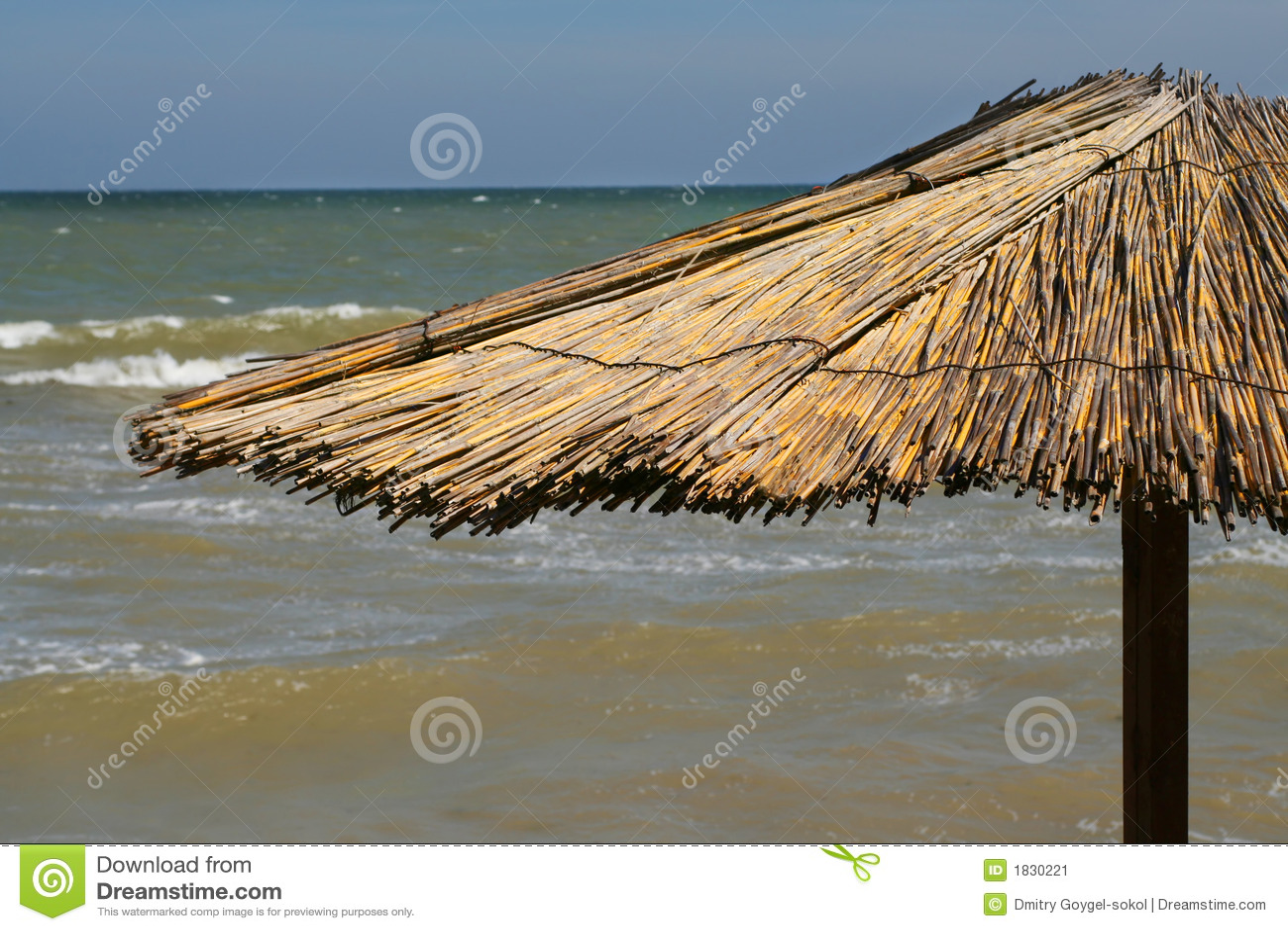 Guarda-chuva na praia com mar atrás