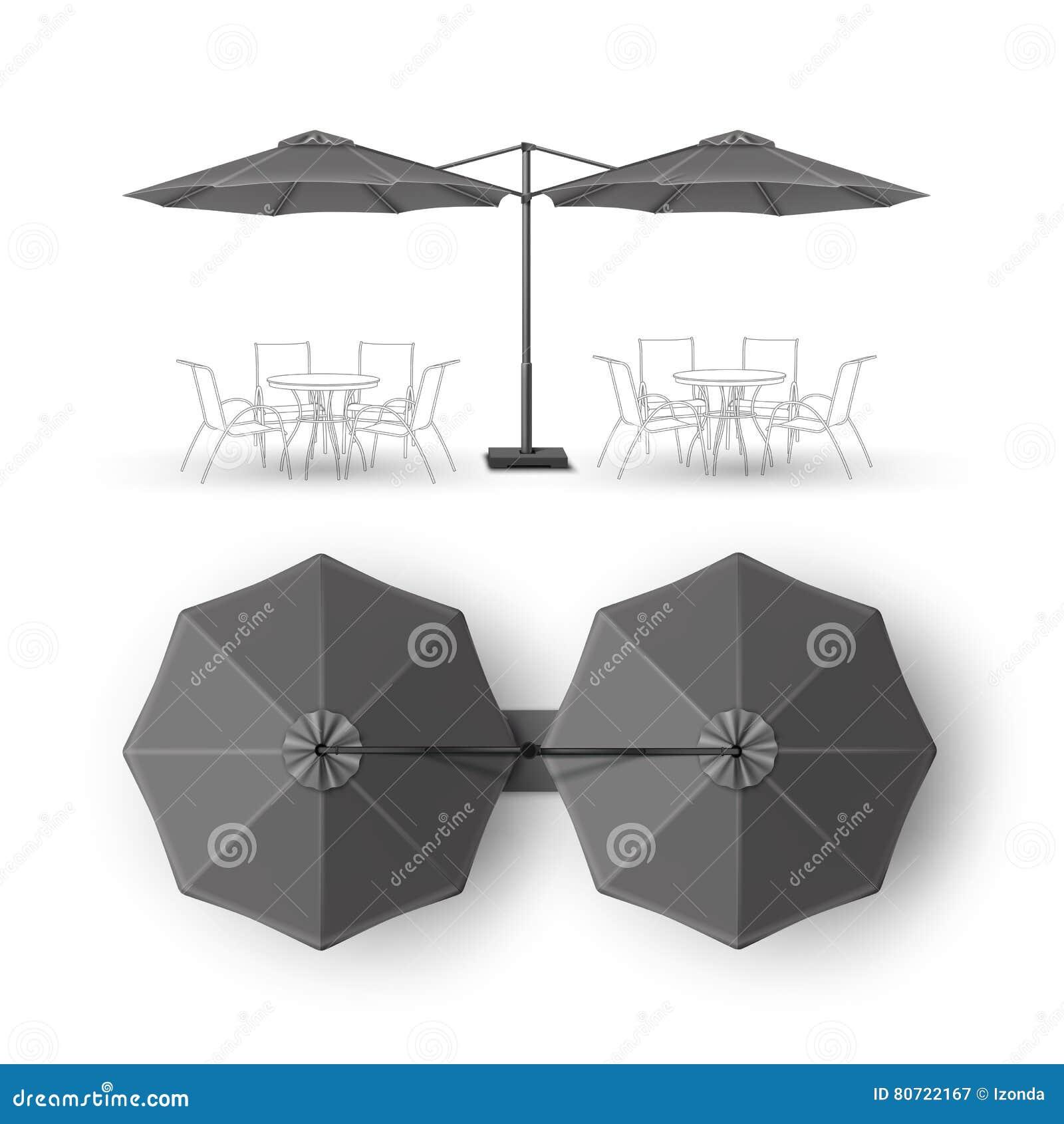 Guarda-chuva redondo da sala de estar preta do bar da barra de Gray Patio Double Outdoor Cafe para marcar a vista lateral superio