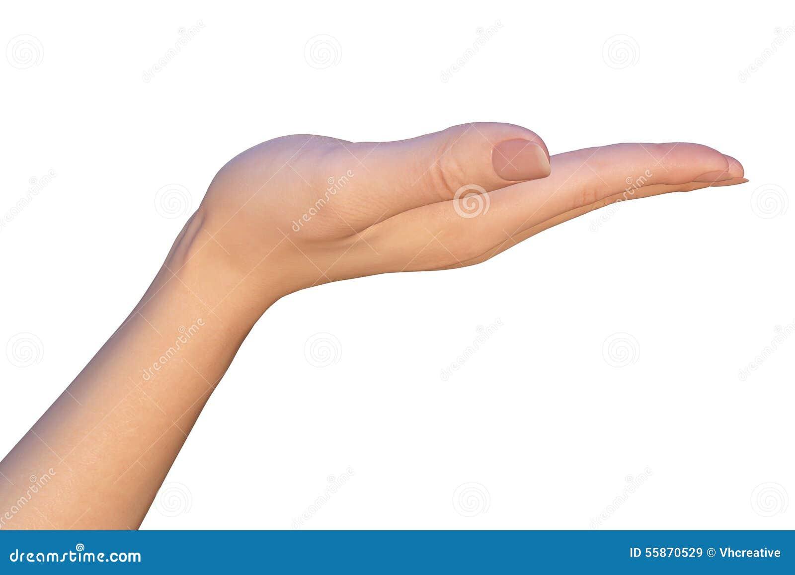 Guardando a mão vazia de uma mulher