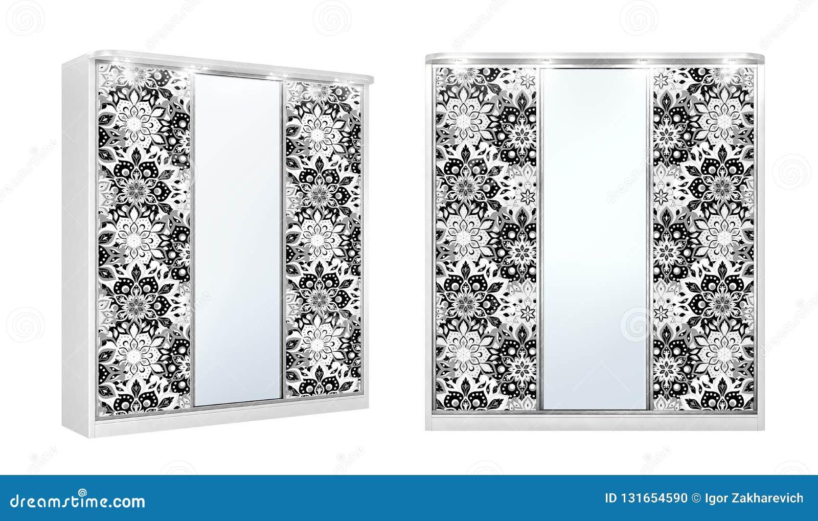 Guardarropa clásico blanco para las cosas con la decoración en los espejos, aislado en un fondo blanco ilustración 3D