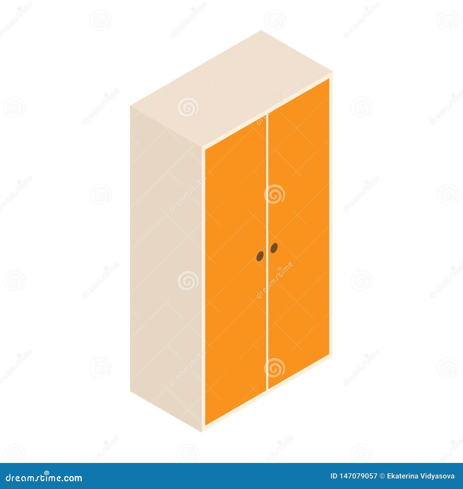 Guardarropa del vector 3d y ejemplo del diseño gabinete de madera aislado en el fondo blanco Isometry
