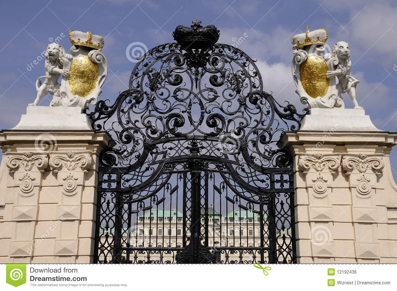 guarded entrance to belvedere palace stock photo image of symbol