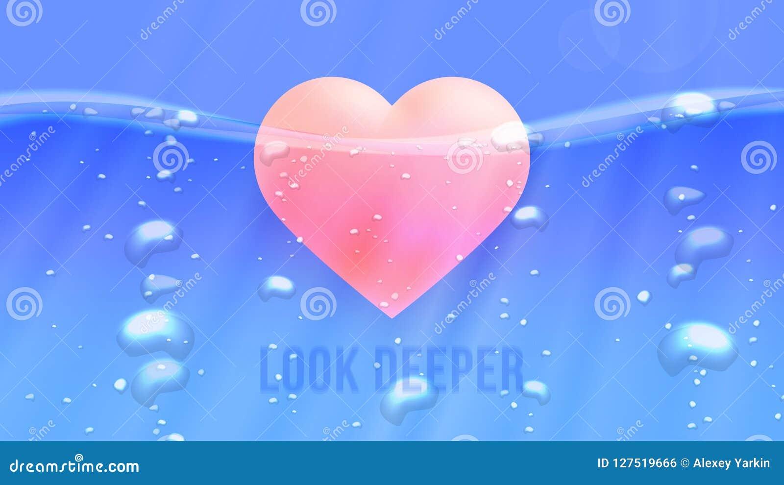 Guardi più profondo Illustrazione concettuale di motivazione L iceberg astratto gradisce il cuore subacqueo Fondo di vettore