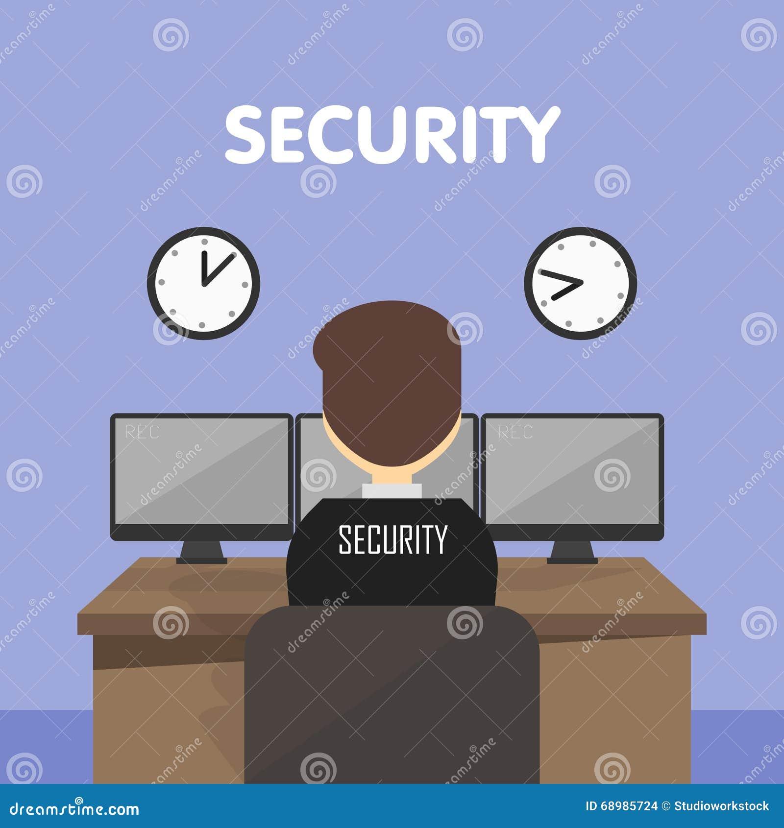 Guardia de seguridad del lugar de trabajo, ejemplo del vector