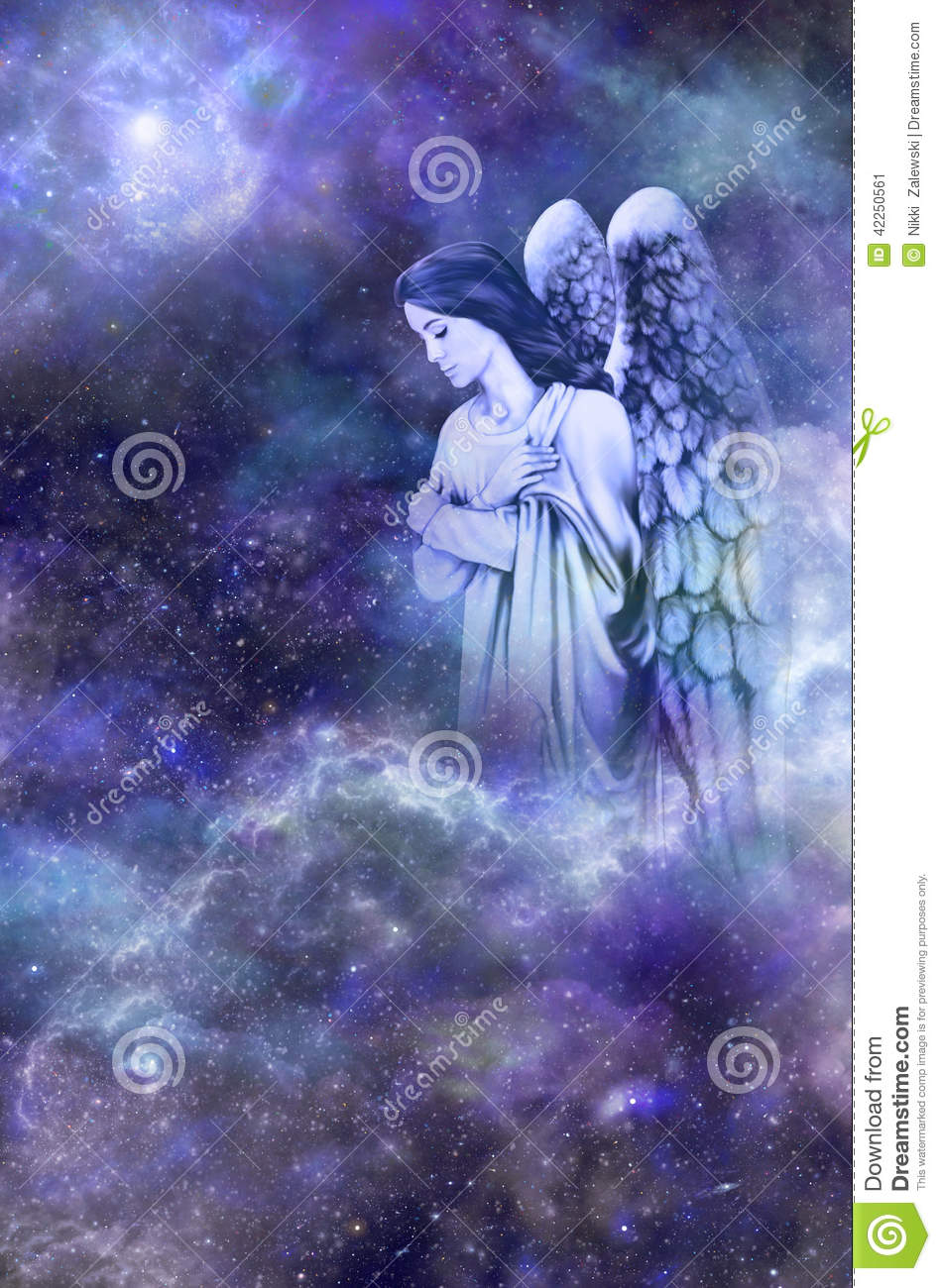 Deep space blue background with Guardian Angel amongst clouds looking ...