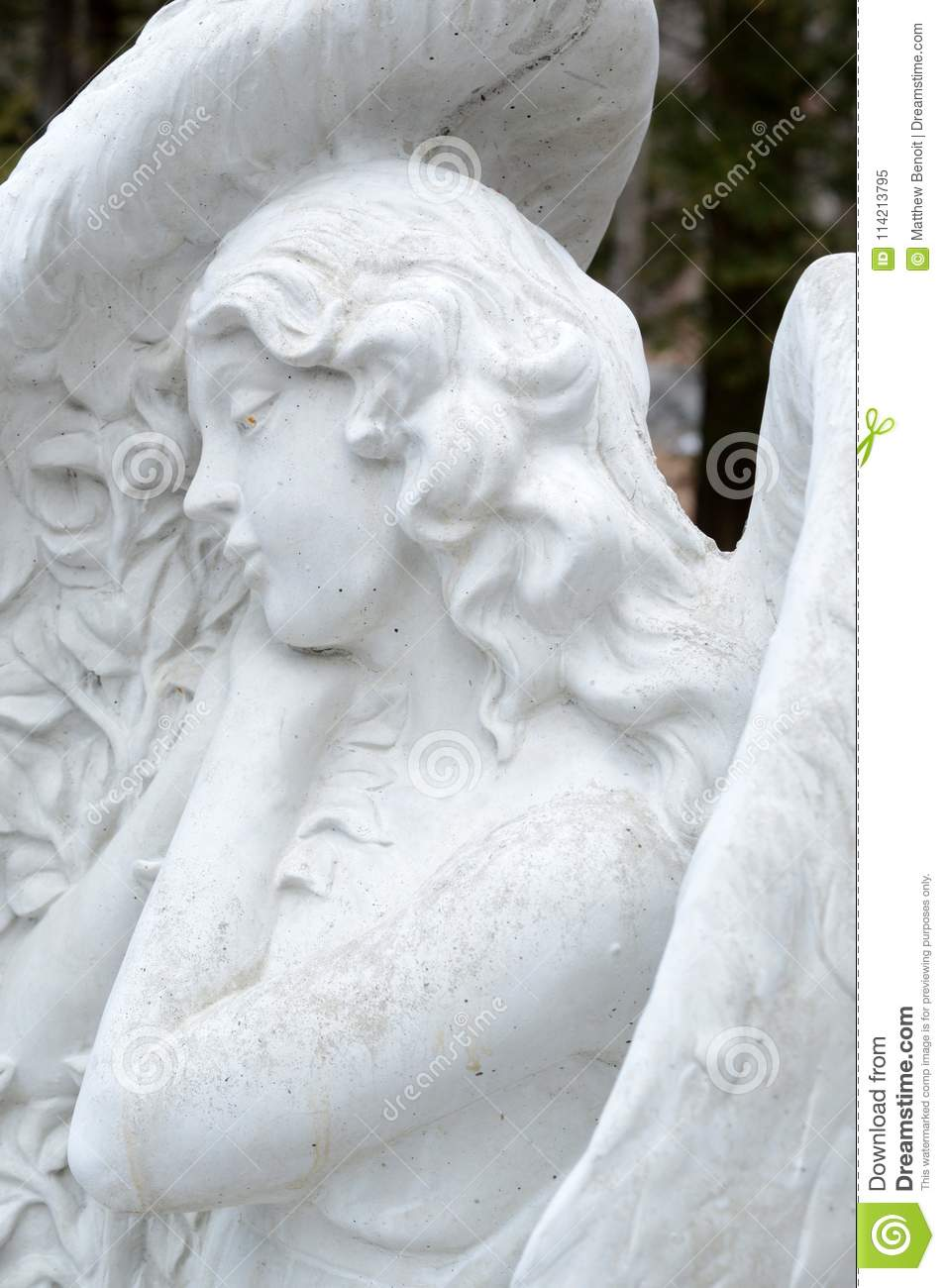 3adbacc0c A beautiful closeup of a guardian angel set in stone watching over the land  of the garden.