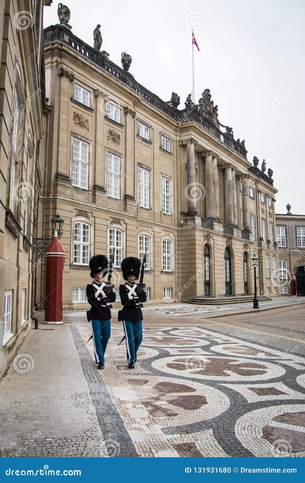 Guards at Amalienborg. The Royal home in Copenhagen. Denmark
