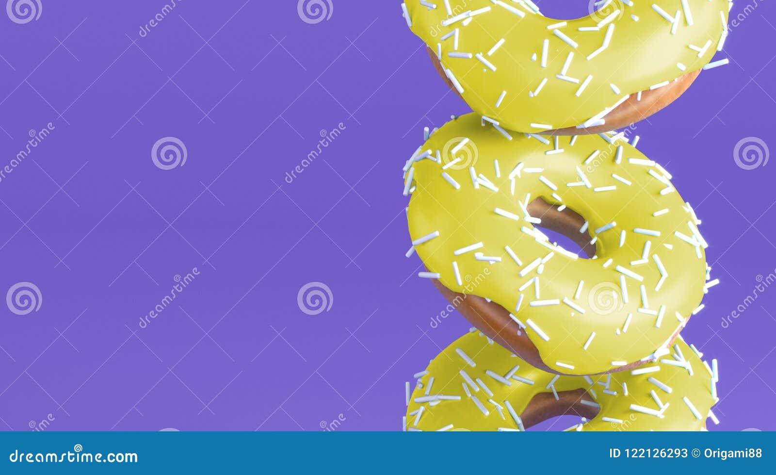 Guarnizioni di gomma piuma saporite con la glassa gialla luminosa e la decorazione bianca per cuocere, vicine su su fondo viola m