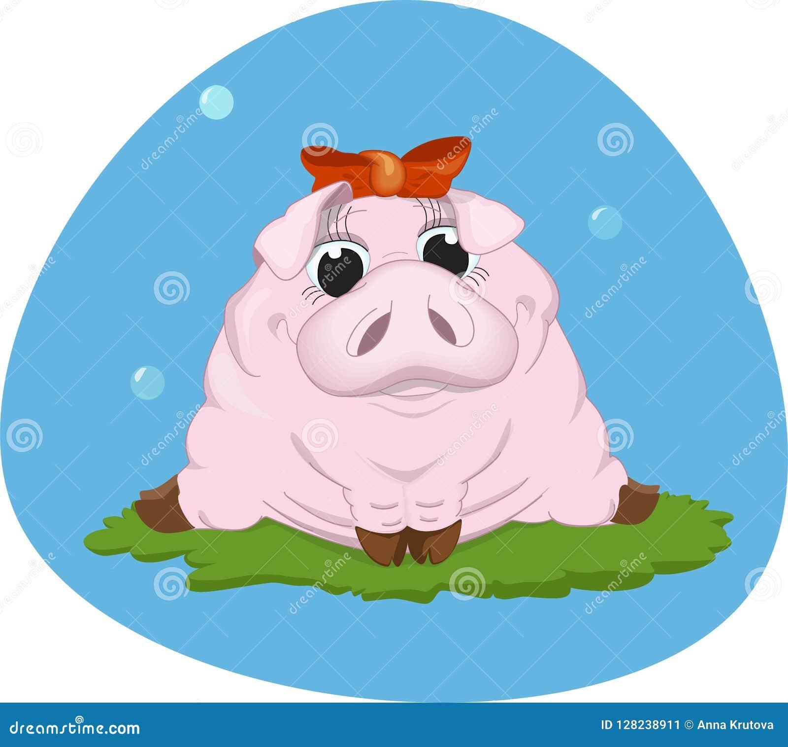 Guarro rosado dulce Ilustración del vector