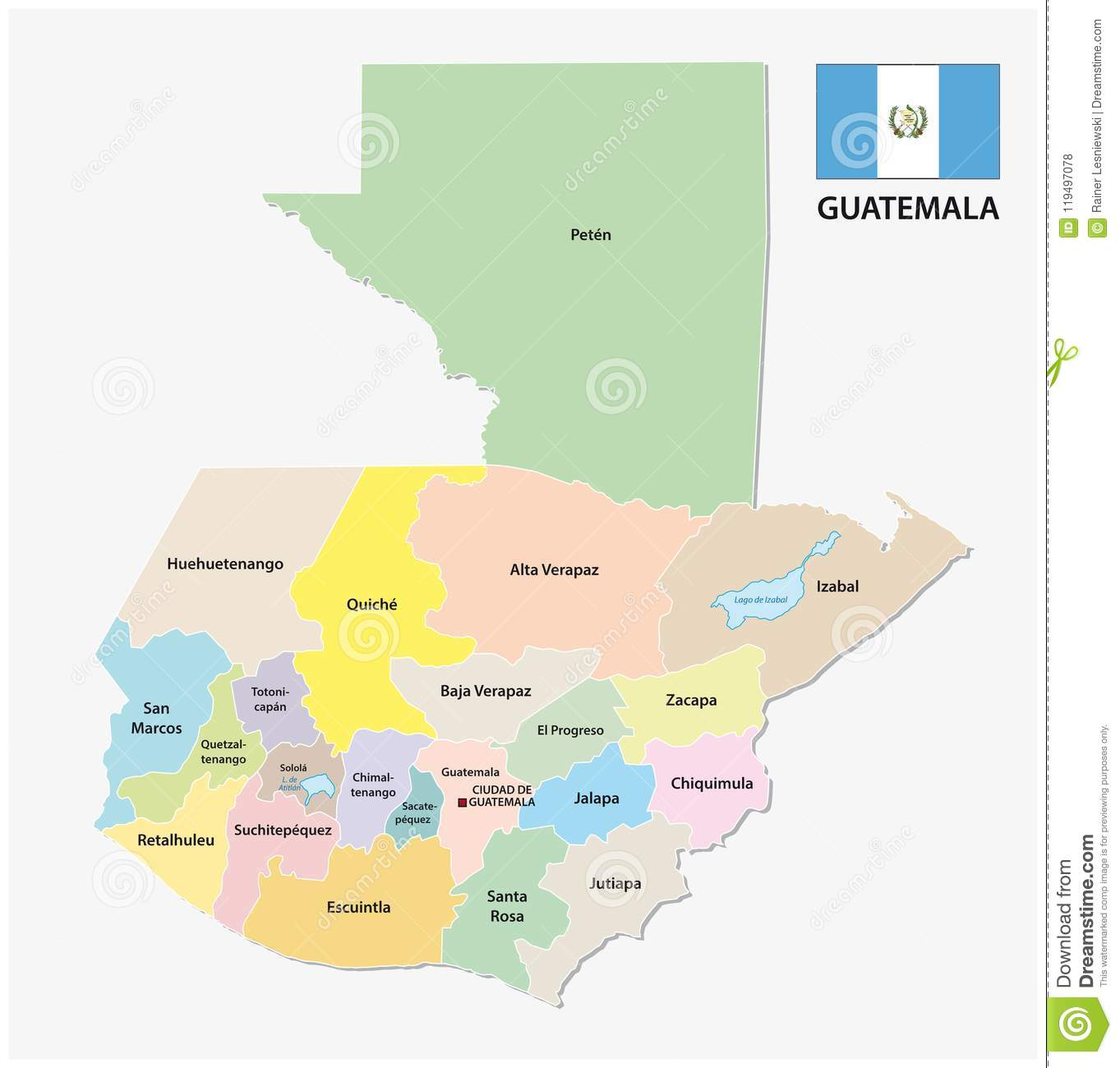 Guatemala Administrative And Political Vector Map With Flag Stock