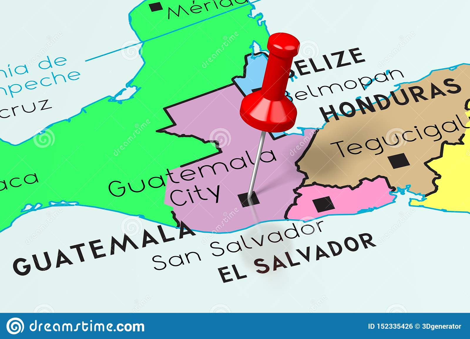 Picture of: Guatemala Guatemala City Capital City Pinned On Political Map Stock Illustration Illustration Of Country Geographical 152335426