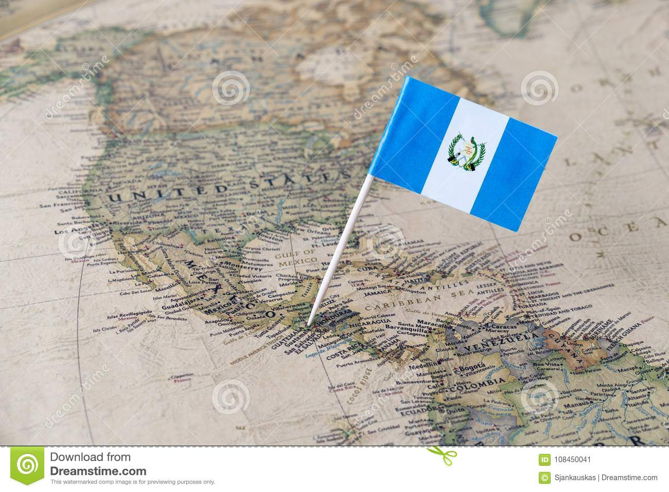 Guatemala flag pin on map stock image. Image of cities - 108450041