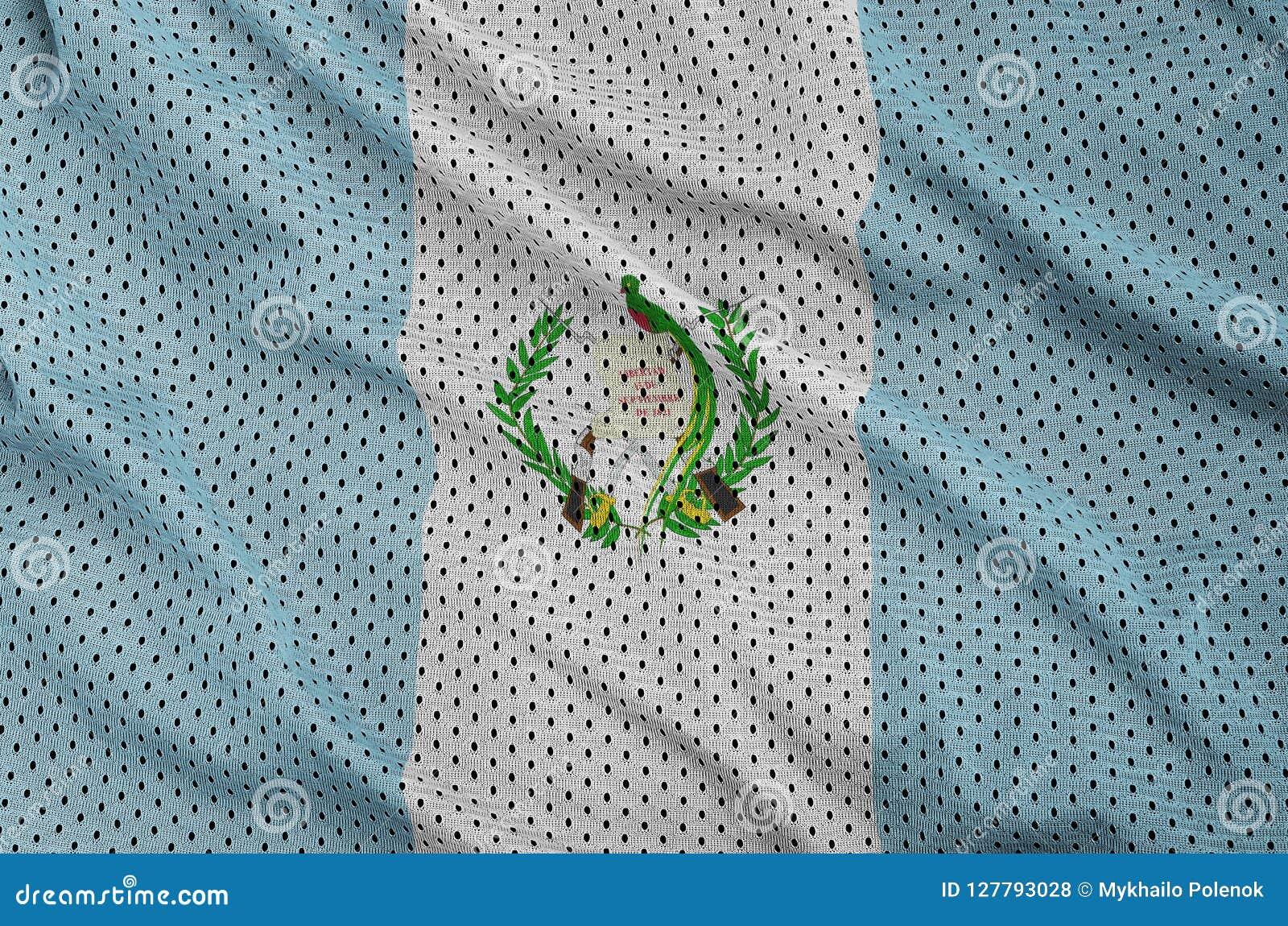 Guatemala flagga som skrivs ut på en fabr för ingrepp för polyesternylonsportswear