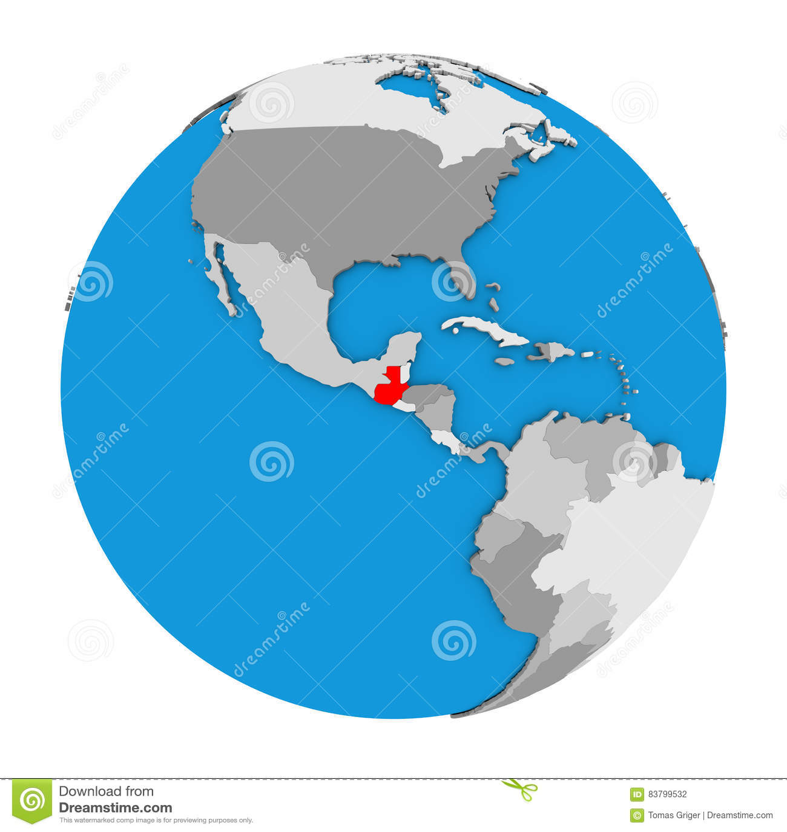 Guatemala on globe stock illustration. Illustration of south - 83799532
