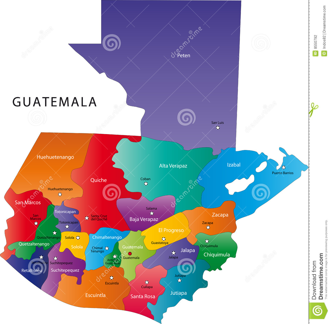 Guatemala Map Stock Photography Image - Political map of guatemala
