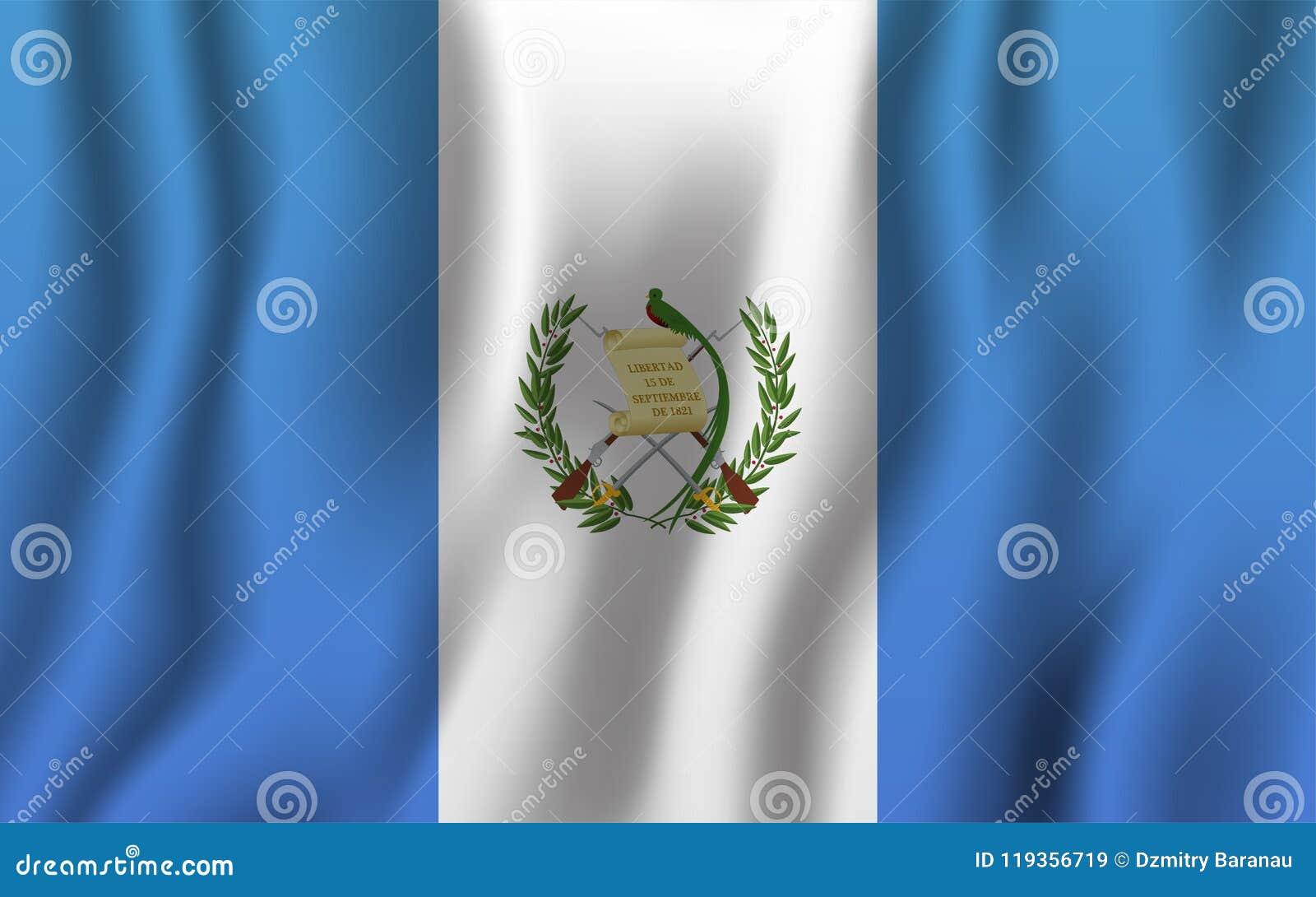 Guatemala Realistic Waving Flag Vector Illustration National Co