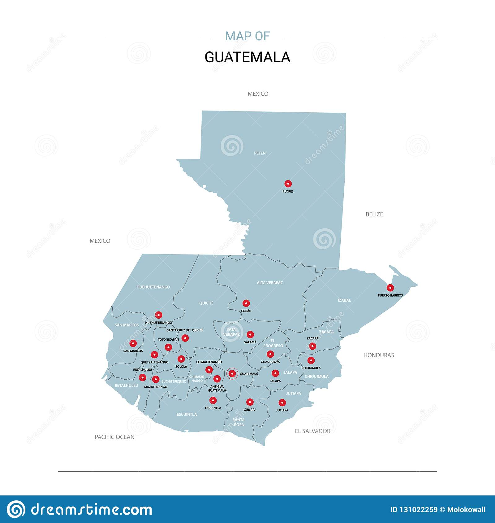 Guatemala Map Vector With Red Pin. Stock Vector - Illustration of ...