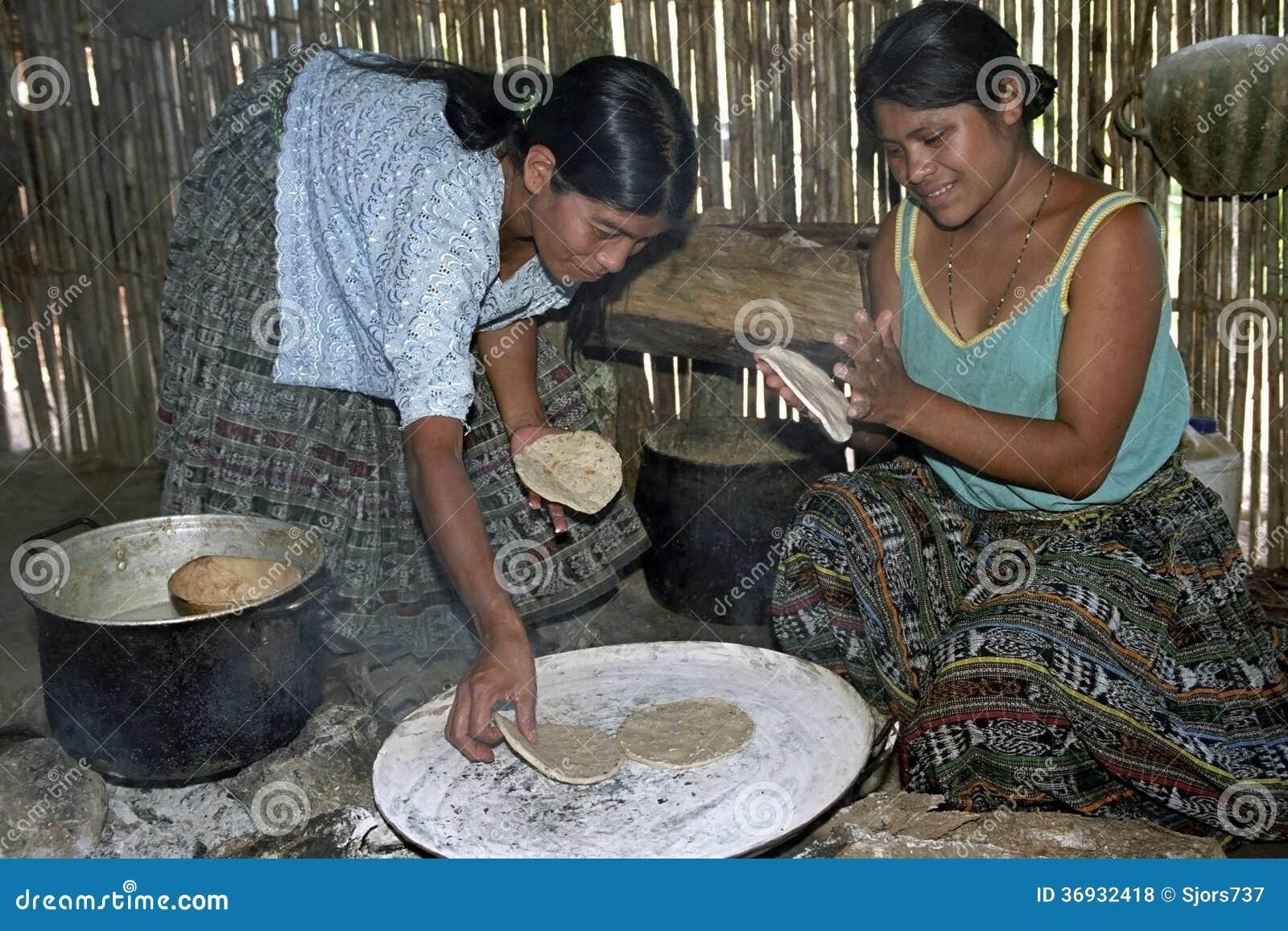 Guatemalan Indian women preparing tortillas