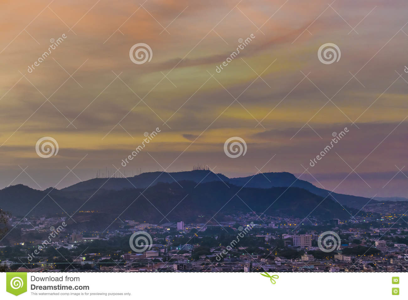 Guayaquil Aerial Landscape Sunset Scene Editorial Photo