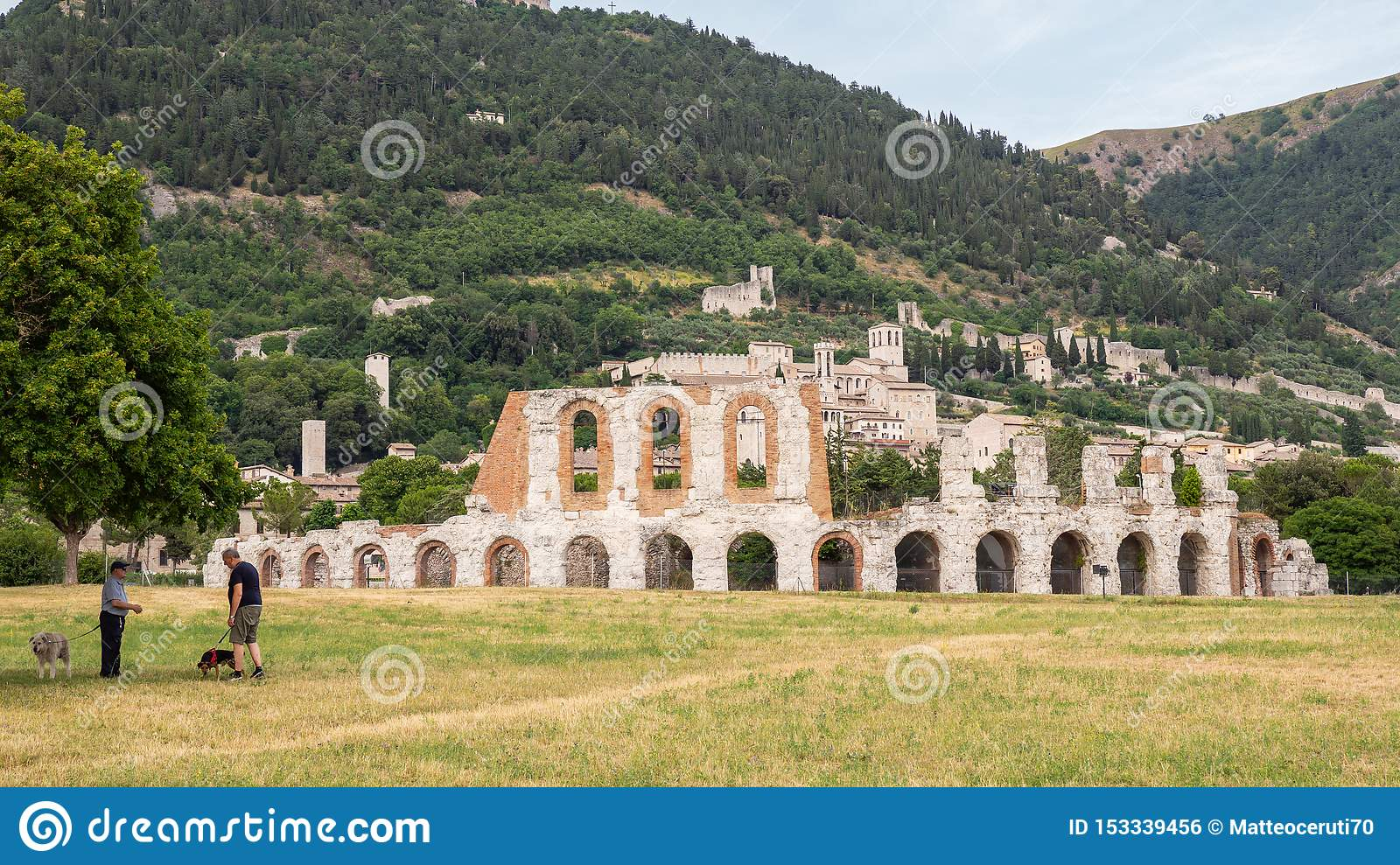 Gubbio, Italy. Amazing view of the ruins of the Roman theater and the city. It is one of the most beautiful small town in Italy