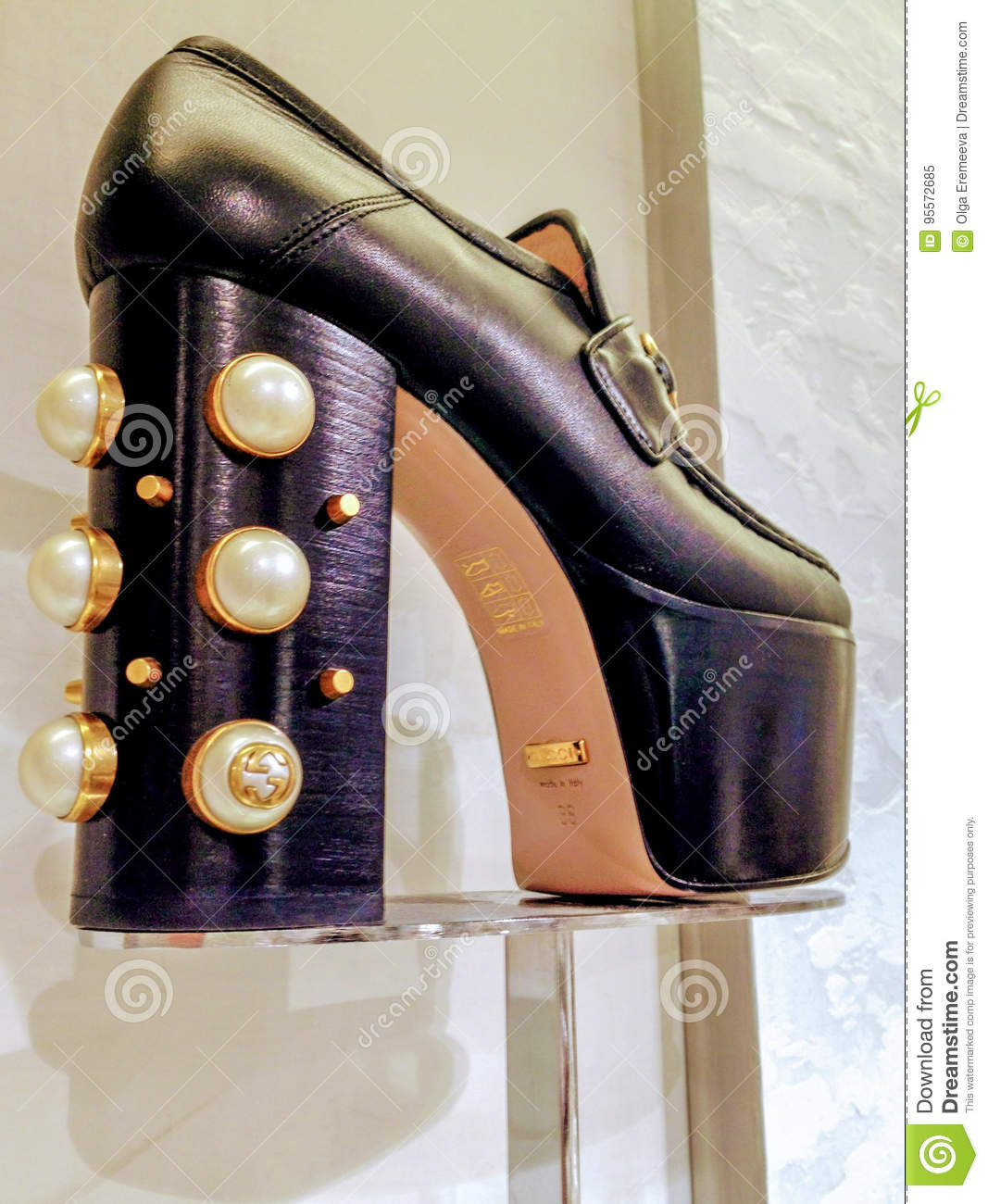 23091a889 Gucci black platform women shoes with pearl embellishments displayed iat Saks  Fifth Avenue store in Toronto