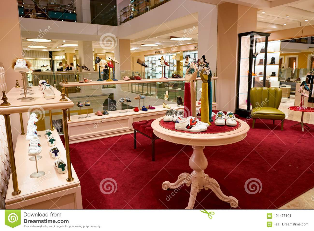 8ad9df3f0 ROME, ITALY - CIRCA NOVEMBER, 2017: Gucci shoes on display at a second  flagship store of Rinascente in Rome.