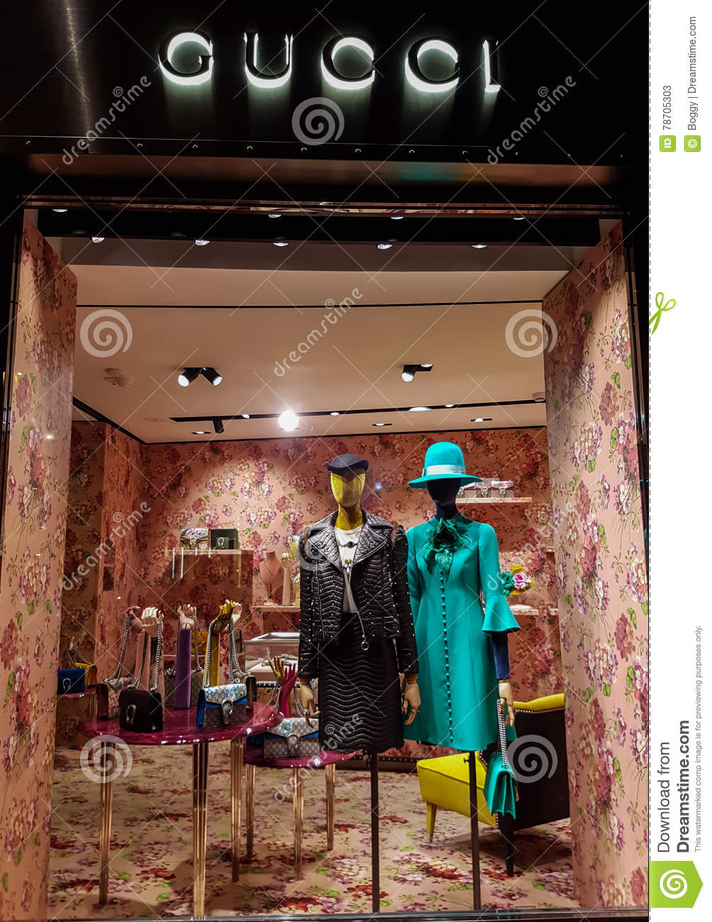 6667b8f5bc3 GUCCI Shop editorial stock photo. Image of bags