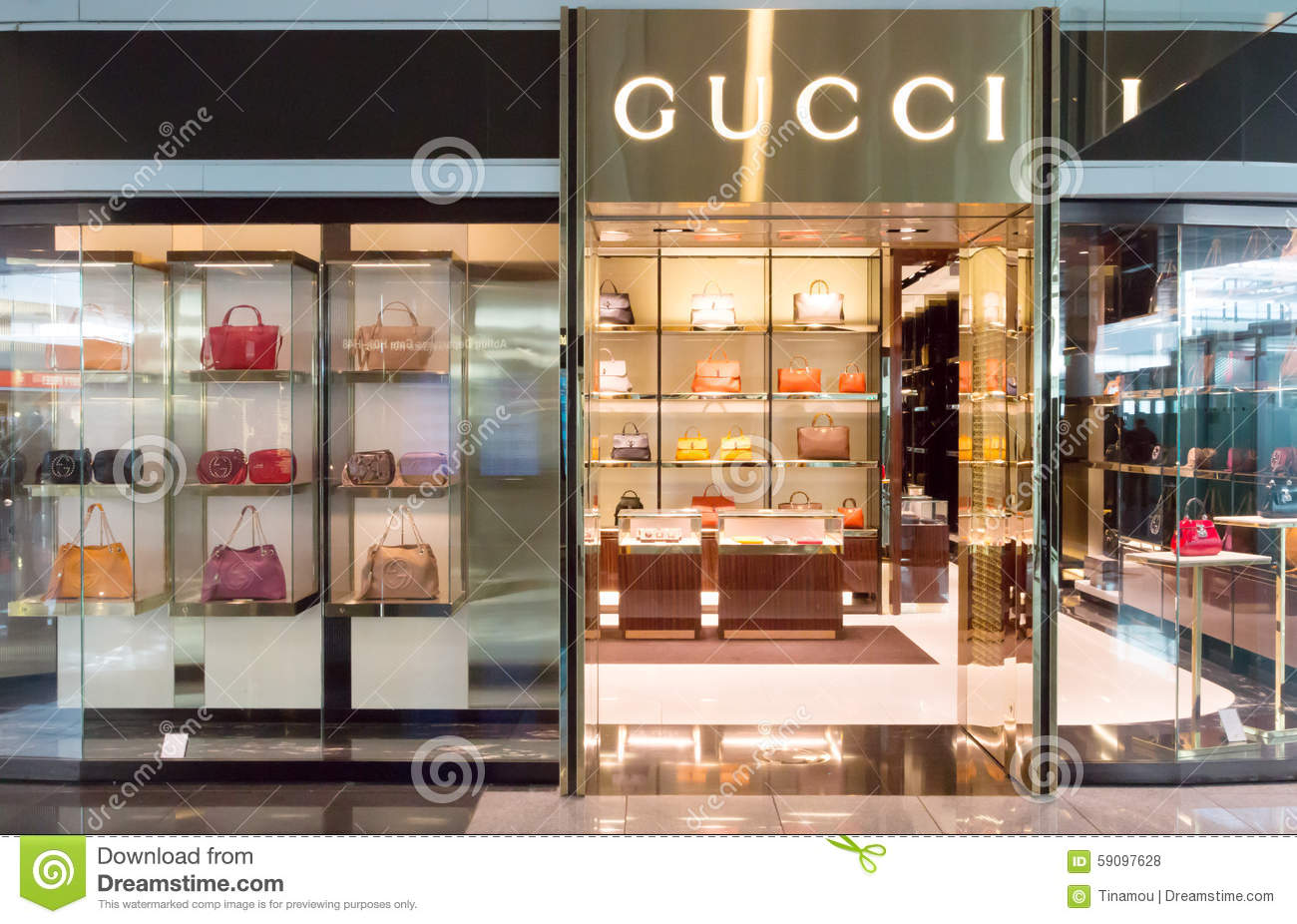 gucci store in munich airport editorial stock photo image 59097628. Black Bedroom Furniture Sets. Home Design Ideas