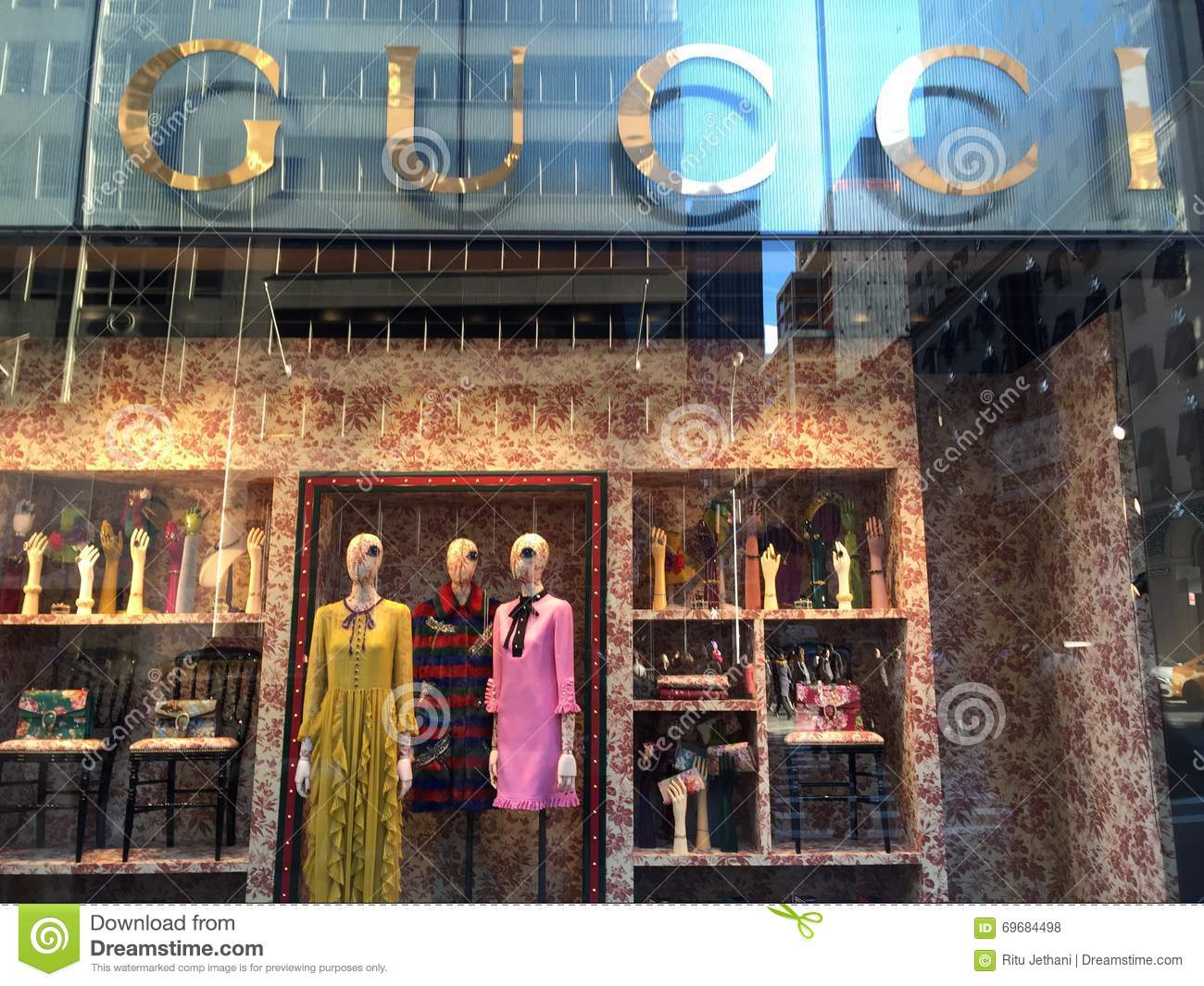 Gucci store in New York editorial stock photo. Image of