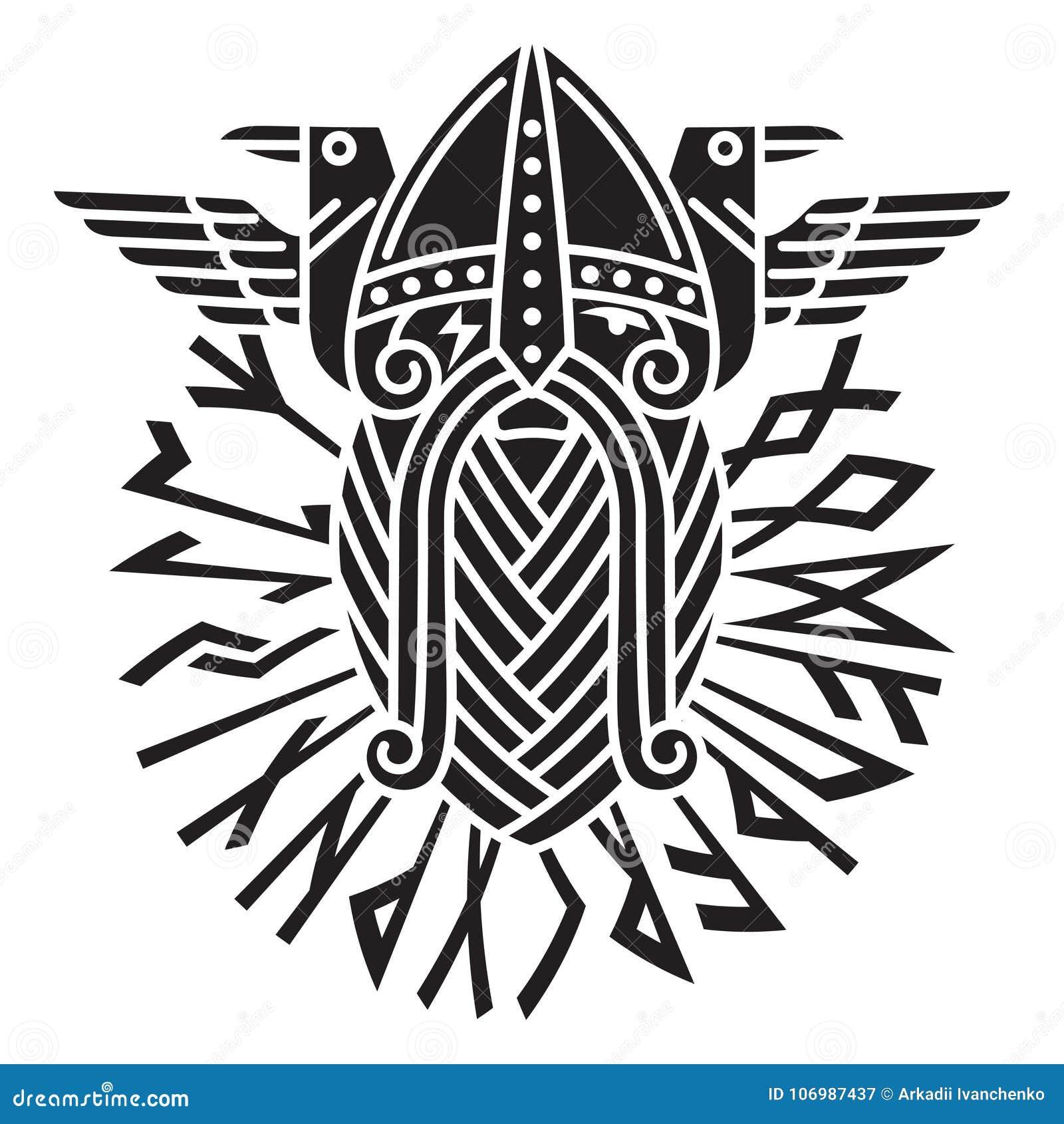 Gud Wotan och två ravens i en cirkel av Norserunor Illustration av Norsemytologi