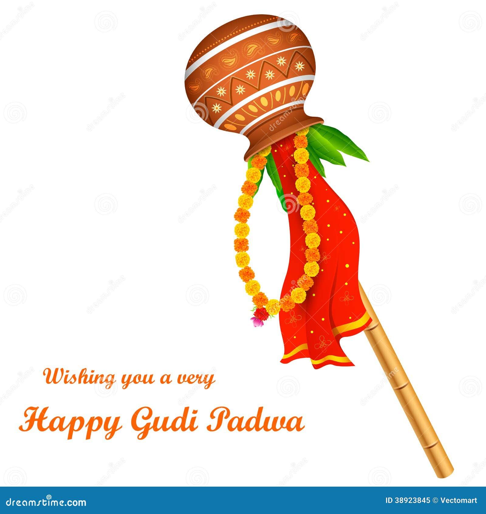 Illustration of Gudi Padwa ( Lunar New Year ) celebration of India.