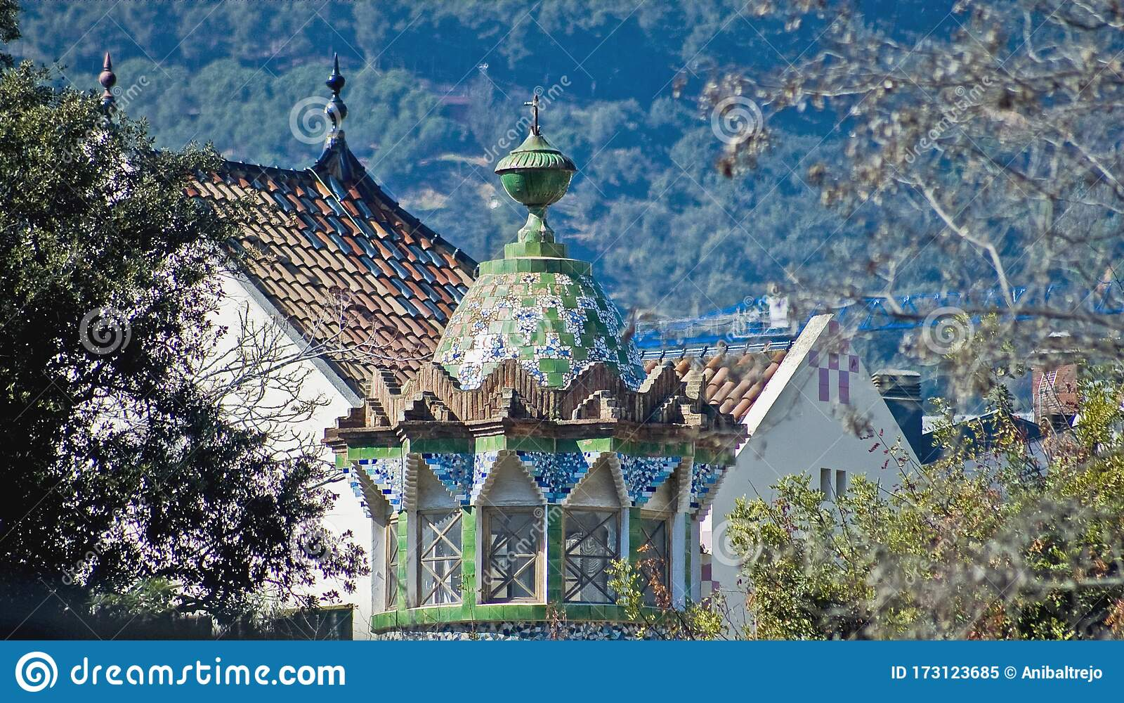 Guell Country House In Barcelona Spain Stock Image Image Of Houses City 173123685