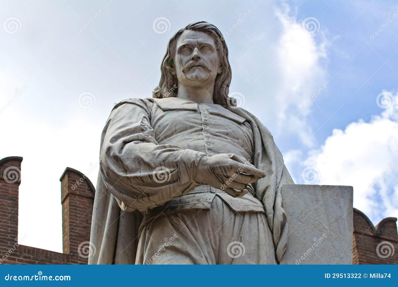 Guercino Marmeren Standbeeld. Cento. Emilia-Romagna. Italië.