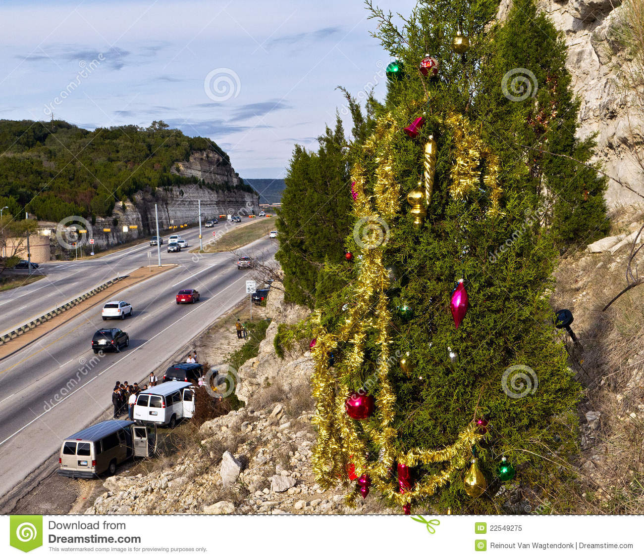 Guerilla Christmas Tree Above Austin Highway Editorial