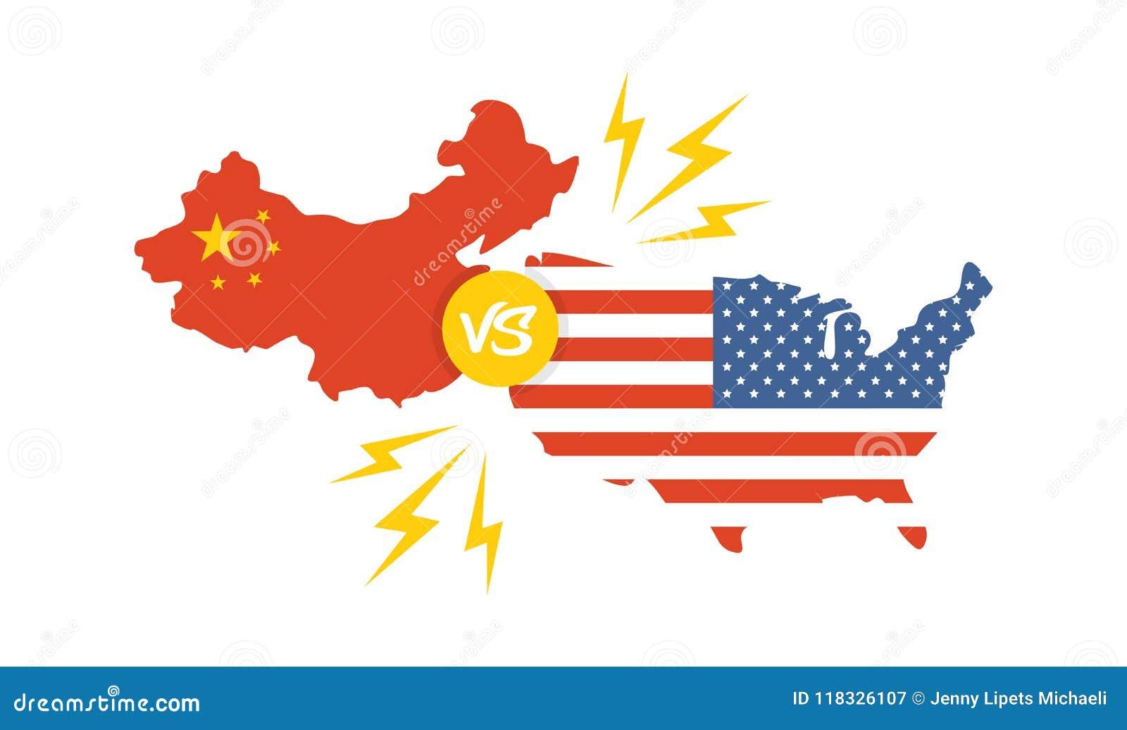 Guerra comercial, international global del intercambio del negocio de la tarifa de América China Los E.E.U.U. contra China