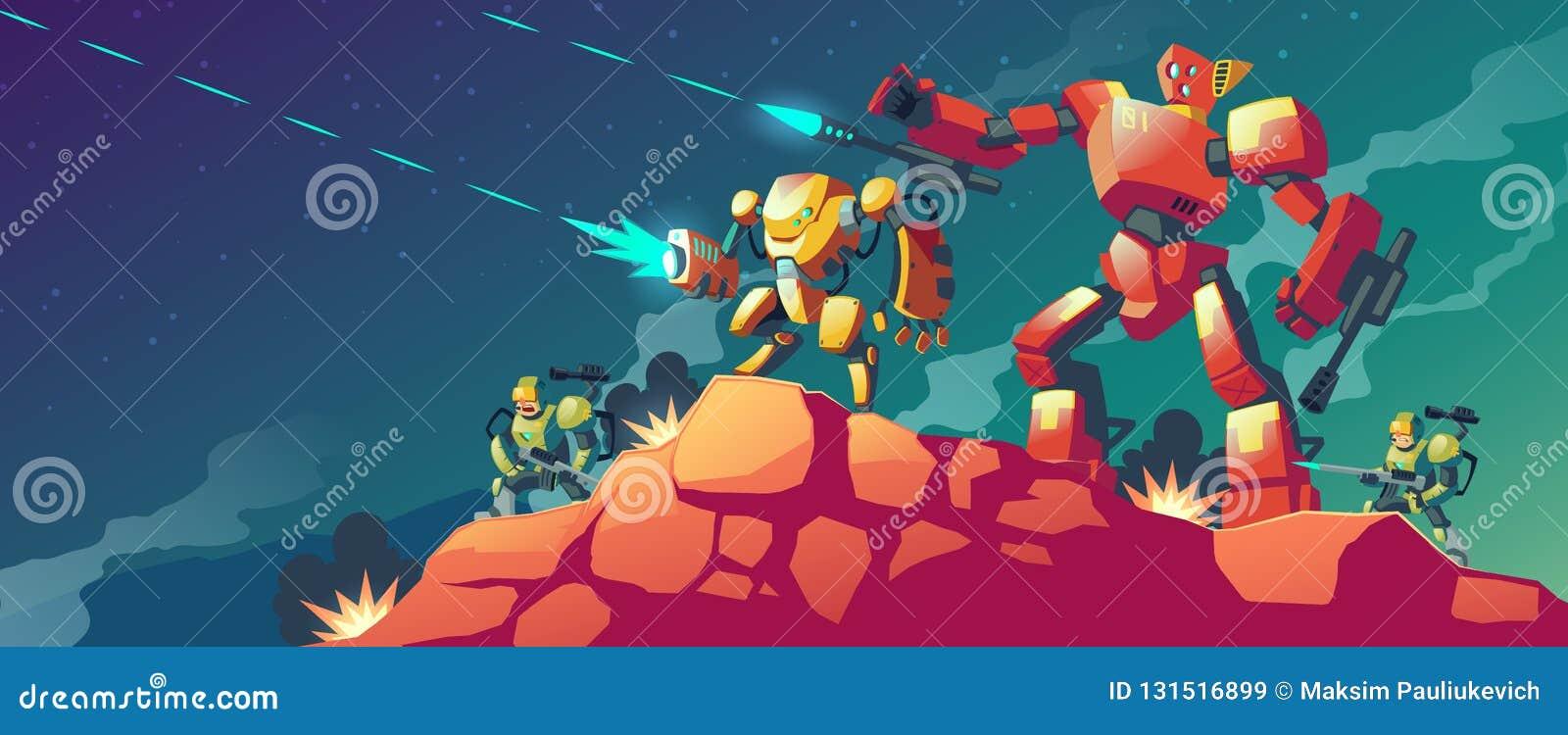 Guerra Do Robo Do Vetor No Planeta Estrangeiro Marte Ilustracao