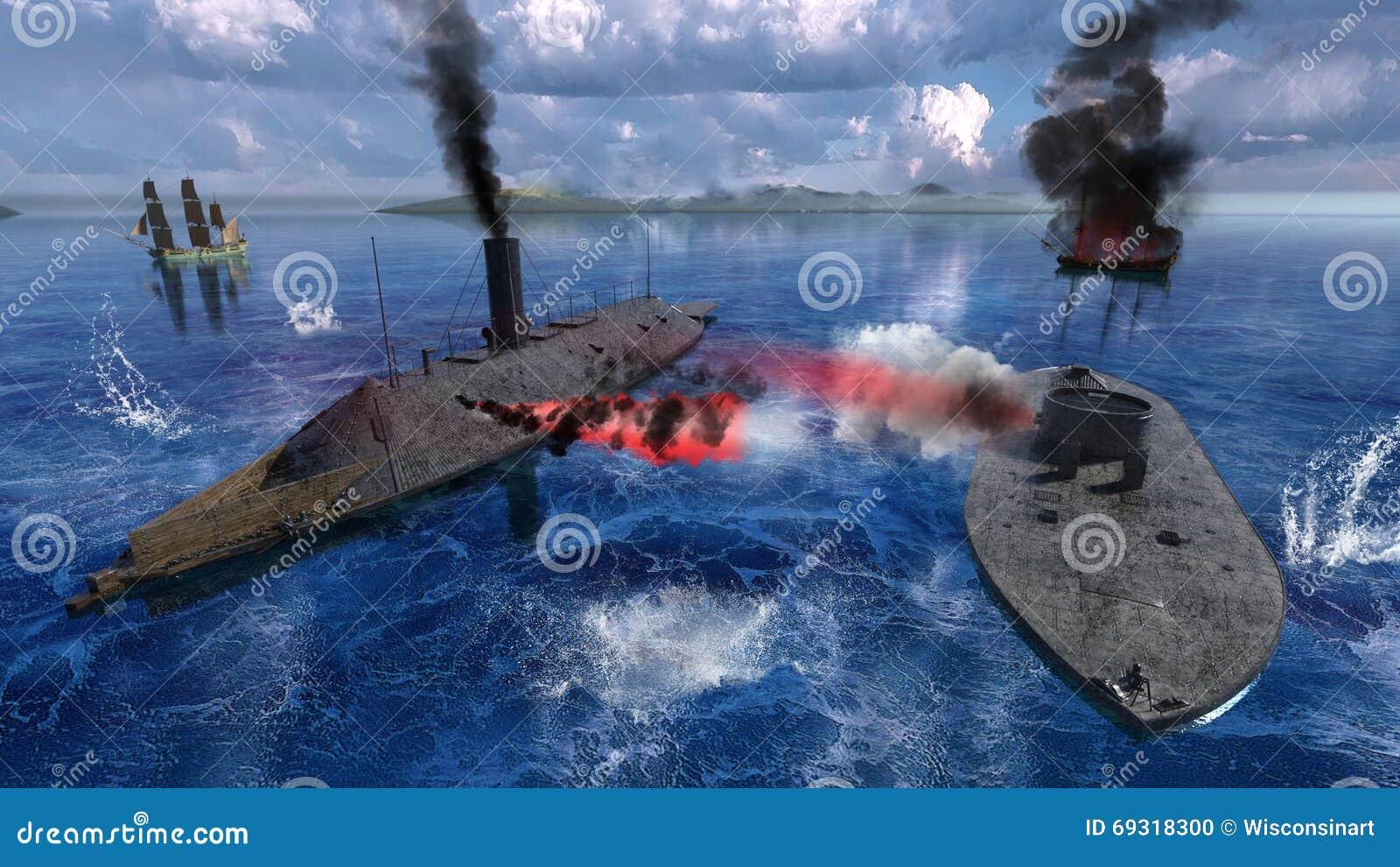 Guerre civile Ironclads, bataille Hampton Roads