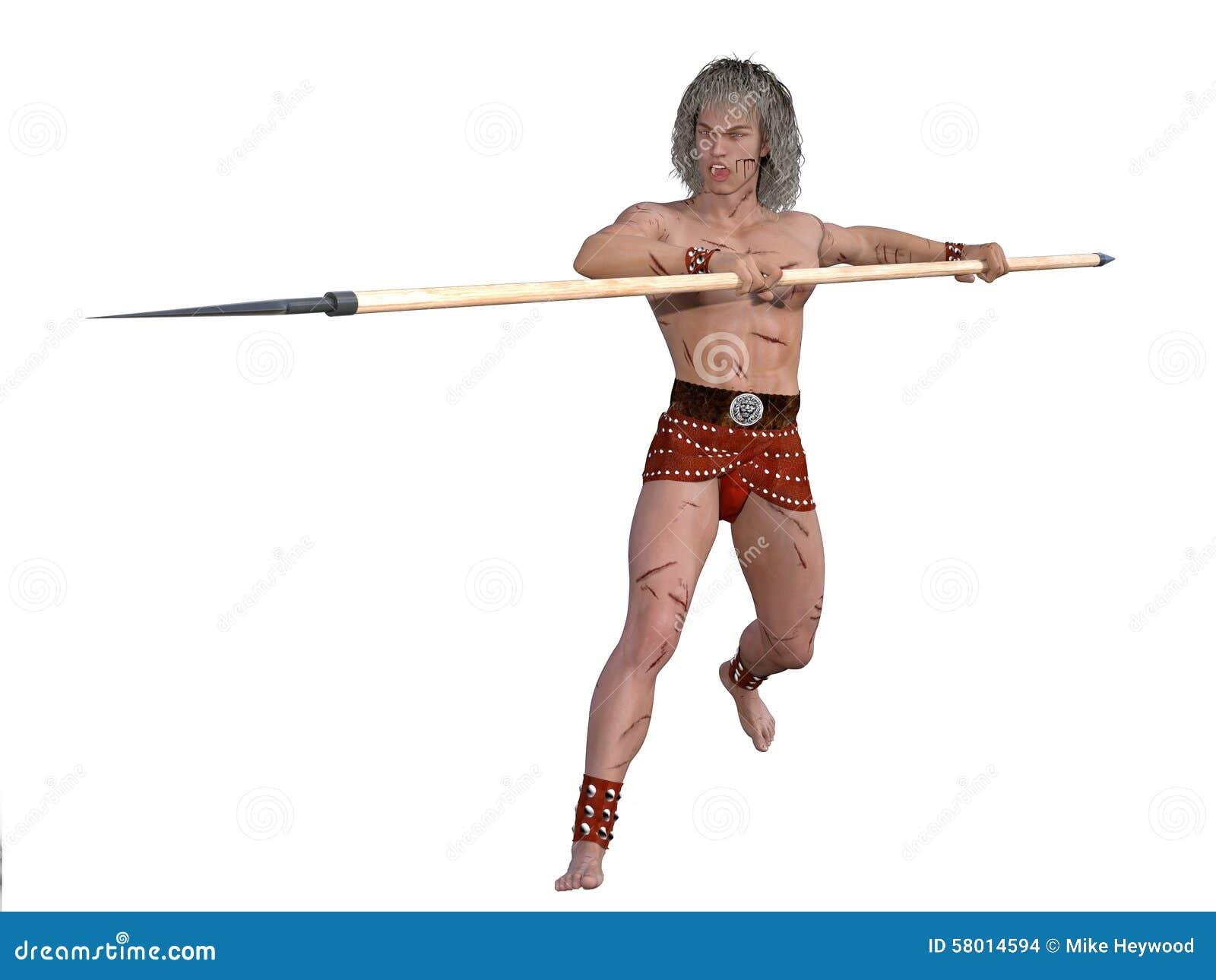 Guerreiro antigo com lança