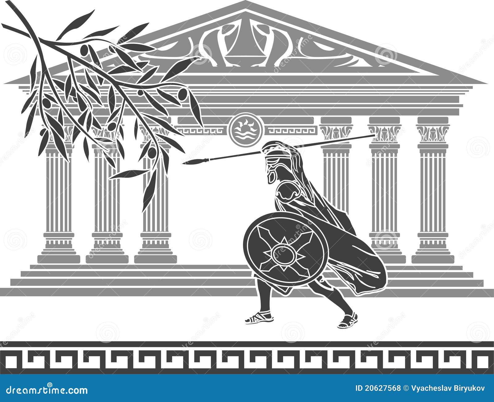Guerreiro e ramo de oliveira antigos