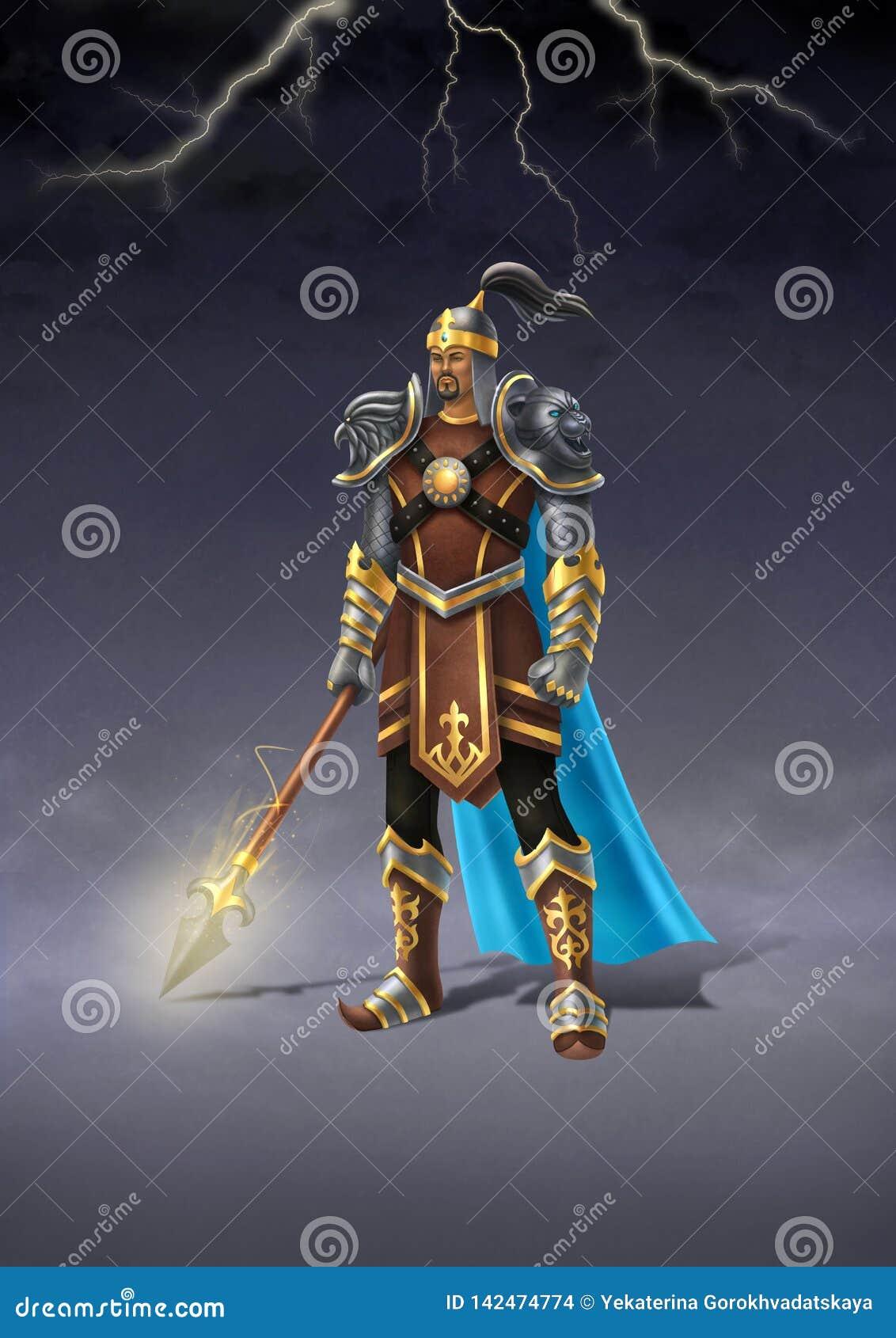 Guerrero mítico Batyr del Kazakh en traje y armadura tradicionales Ejemplo de Digitaces