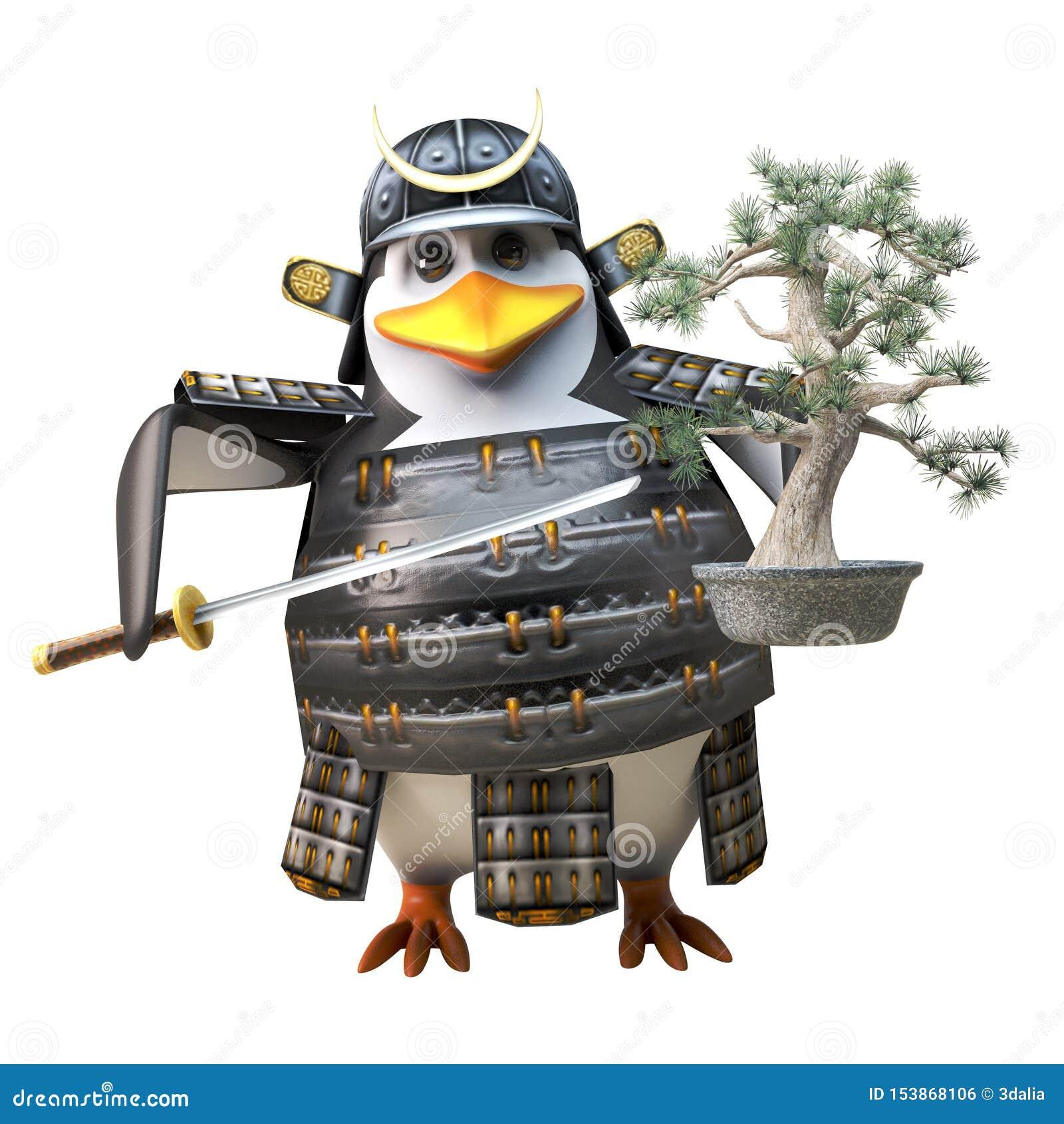 Guerrero valiente del pingüino del samurai en la armadura que sostiene una espada del árbol y del katana de los bonsais, ejemplo