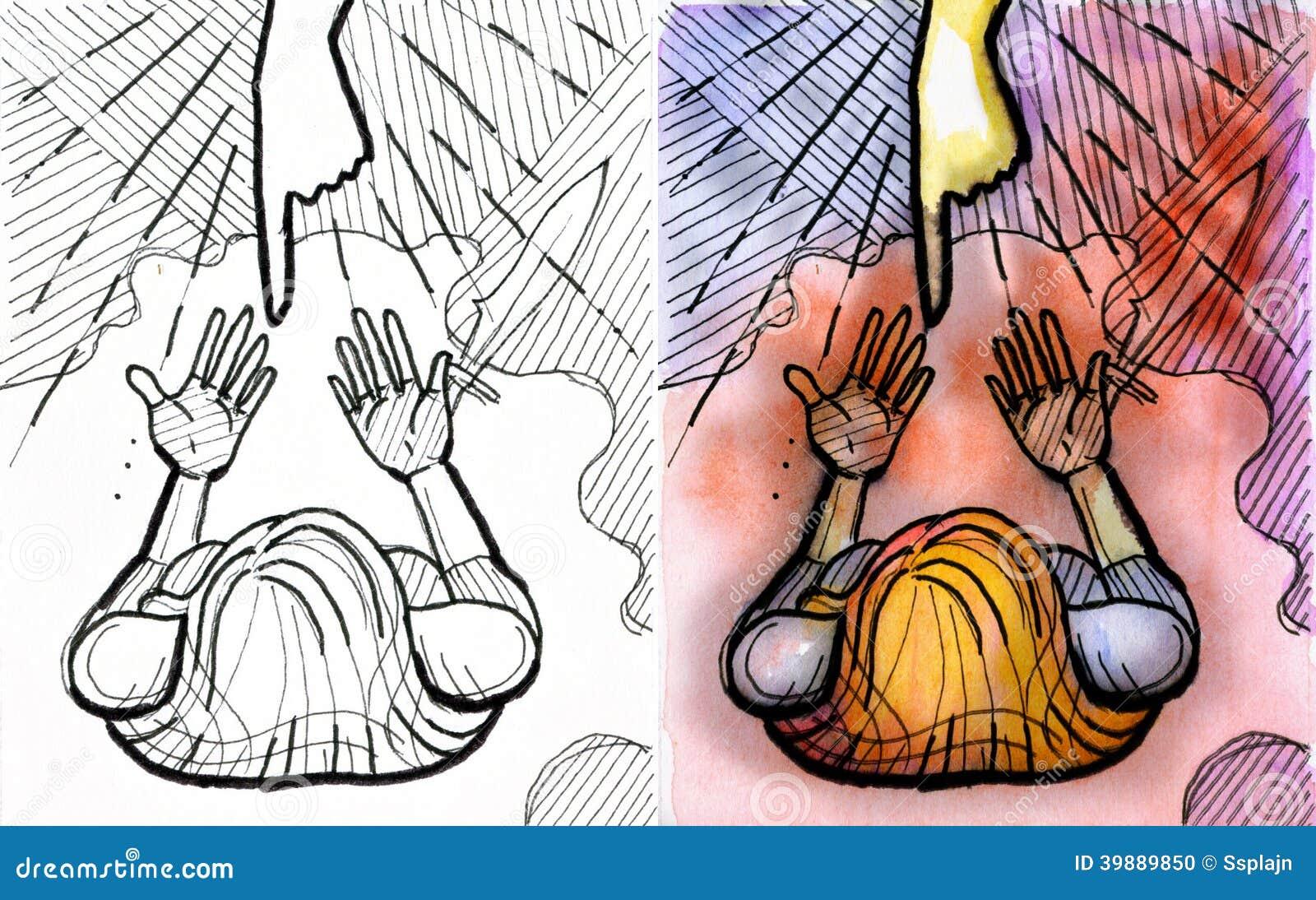 Guerrière De Femme Avec Ses Mains Vides Illustration Stock