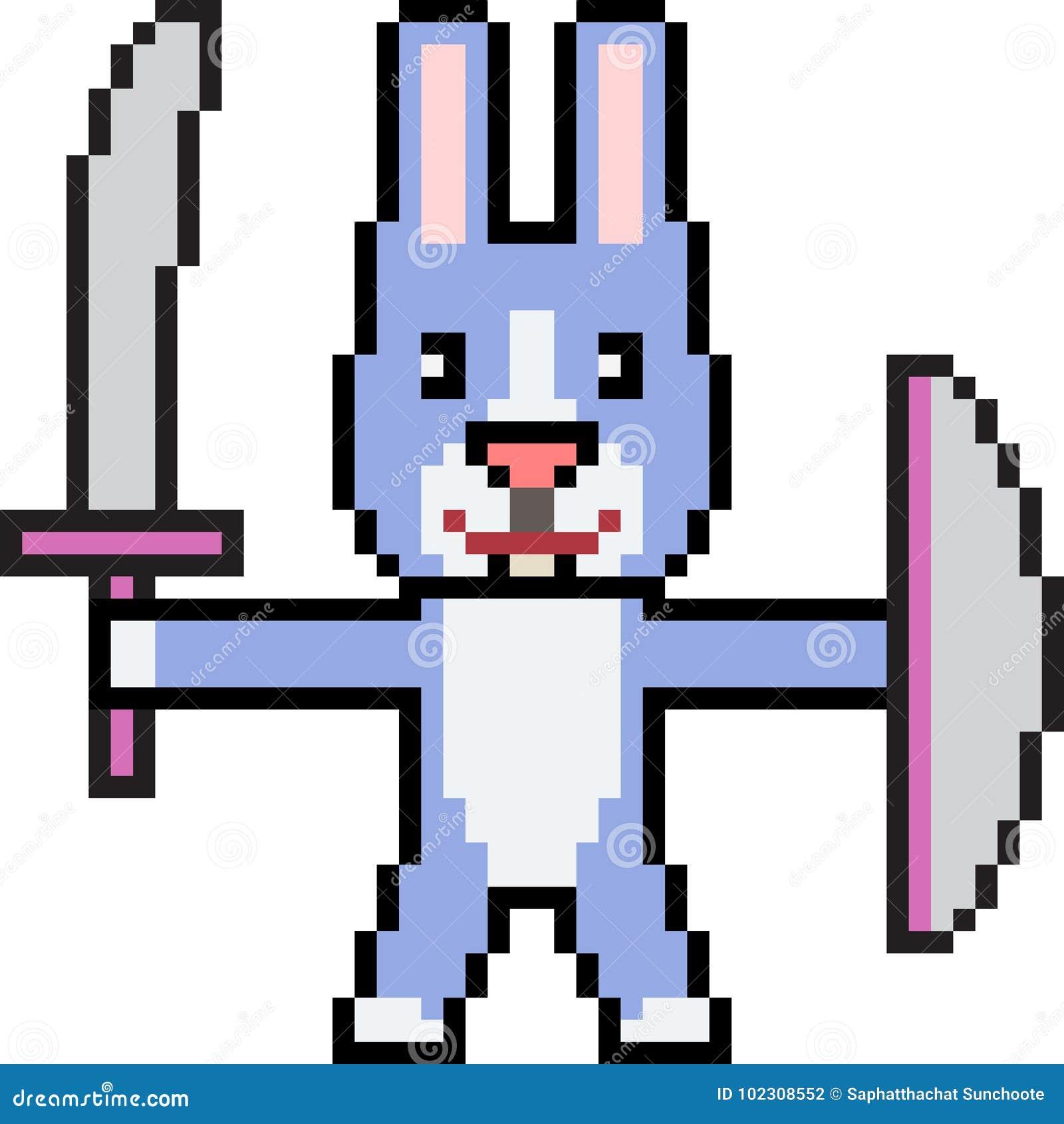 Guerrier De Lapin Dart De Pixel De Vecteur Illustration De