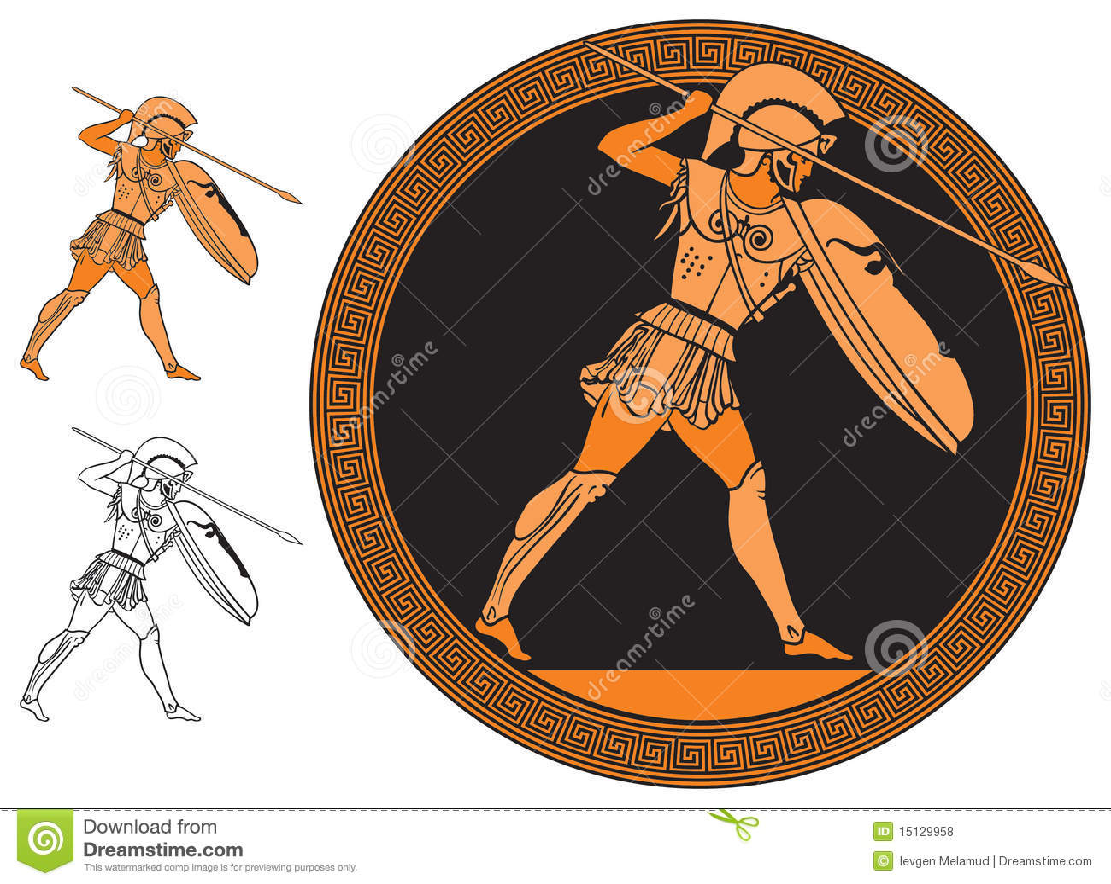 Guerriero greco illustrazione vettoriale illustrazione di for Vaso greco antico