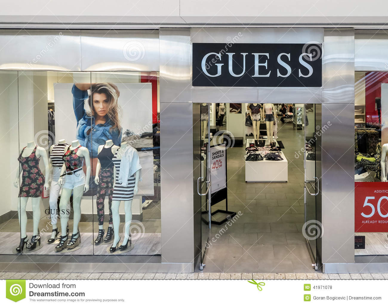 of the Guess store in Denver. Guess is American upscale clothing