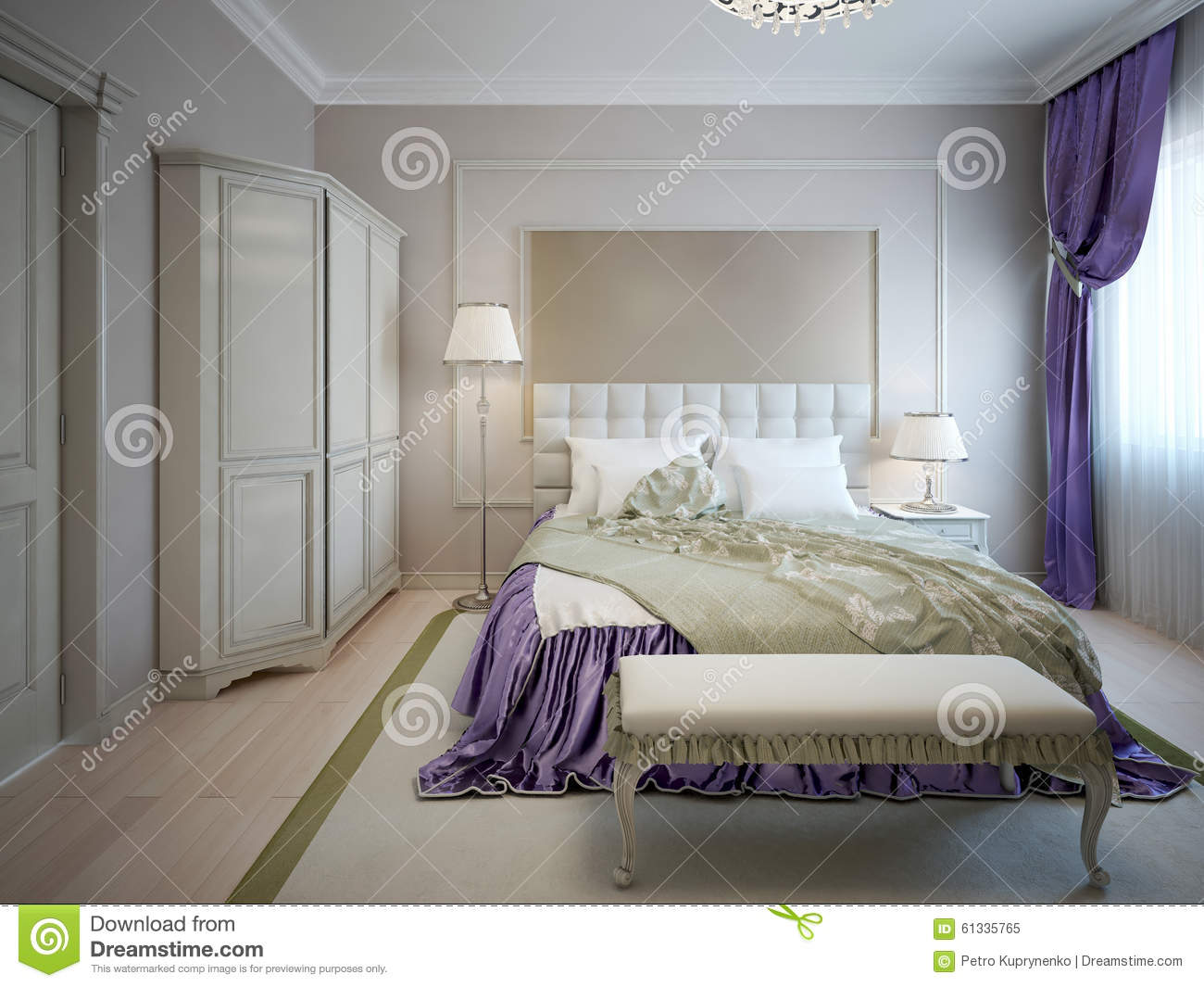 Guest Bedroom Neoclassic Style Stock Illustration Illustration Of Classic Mounted 61335765