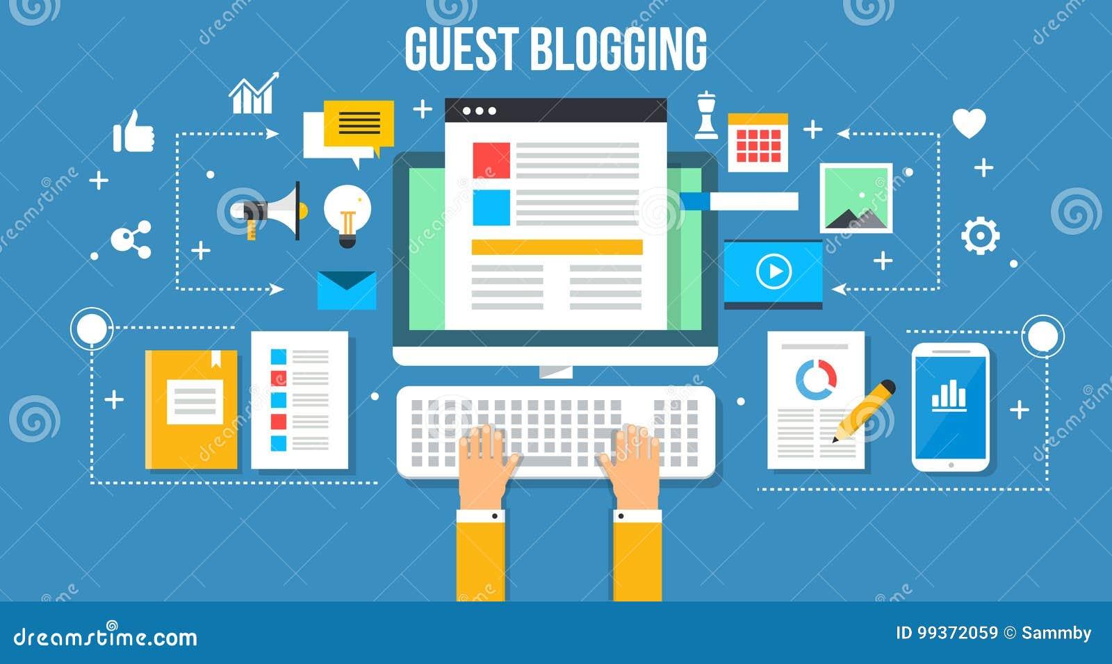 Guest Blogging - Flat Design Vector Illustration  Web Banner