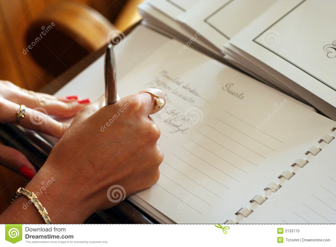 Guest Book Signing Stock Photo Image 2133770