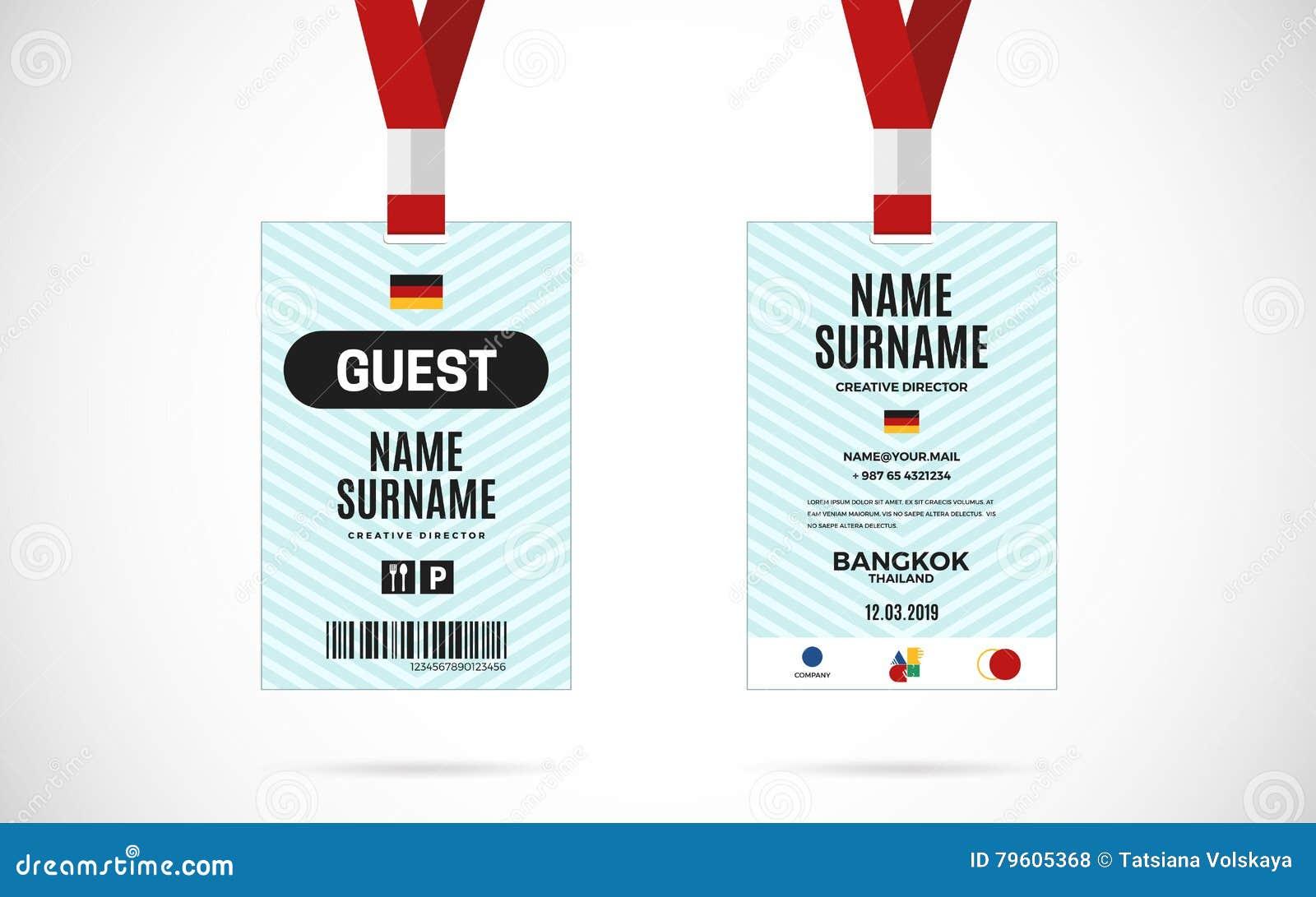 Stock Set Illustration Card 79605368 Guest Id Vector Festival Of - Design Lanyard
